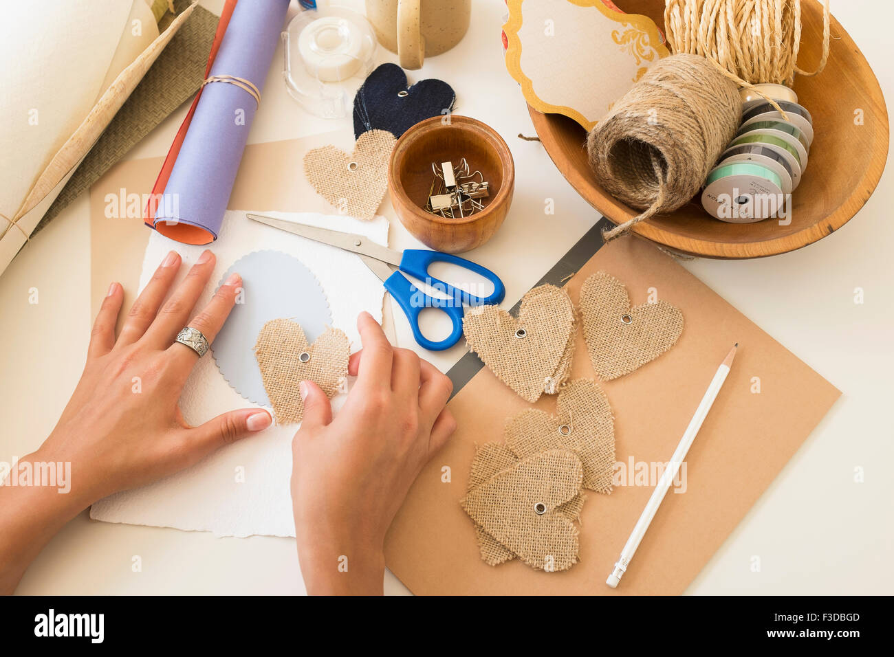 Crafts equipment on table - Stock Image