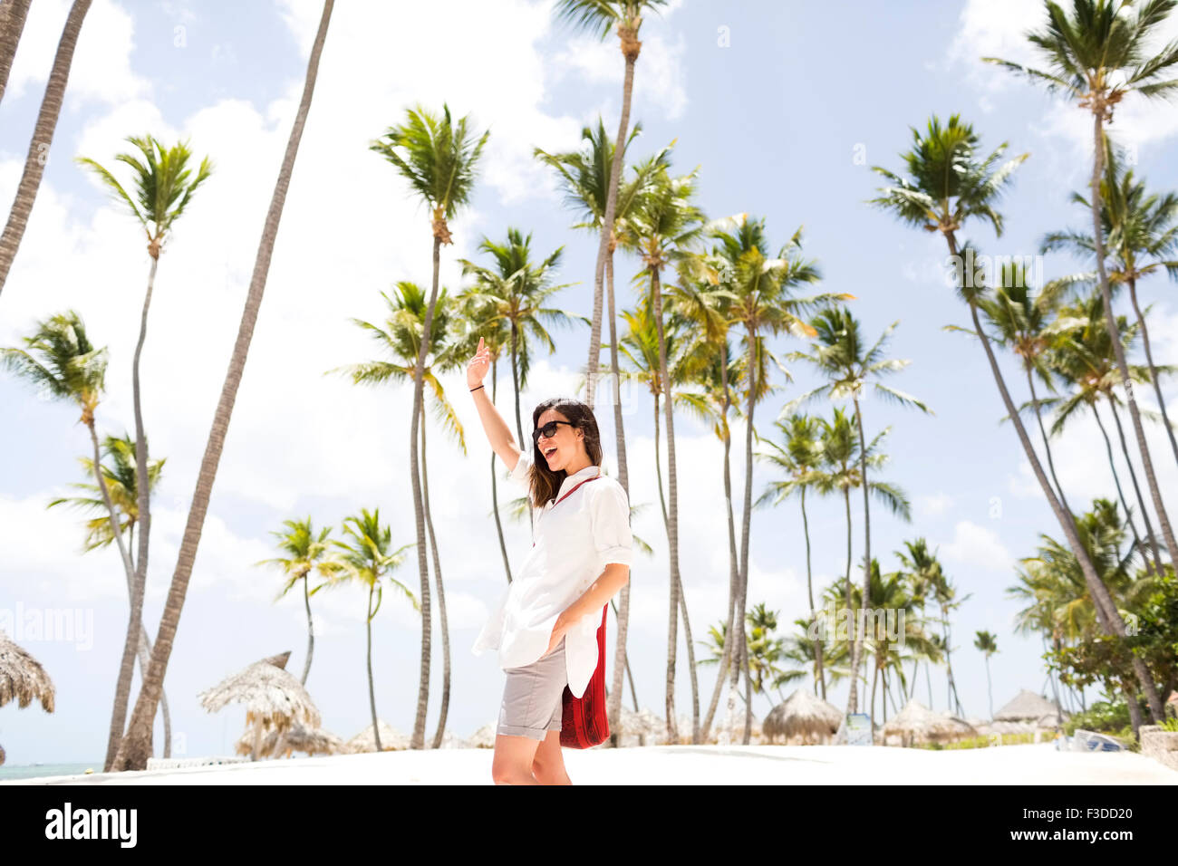 Woman standing beneath palm trees - Stock Image