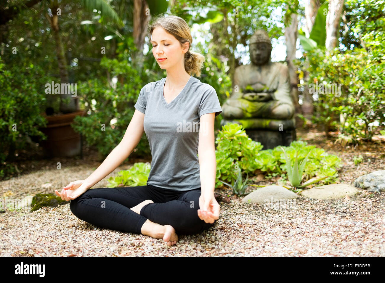 Woman meditating in park - Stock Image