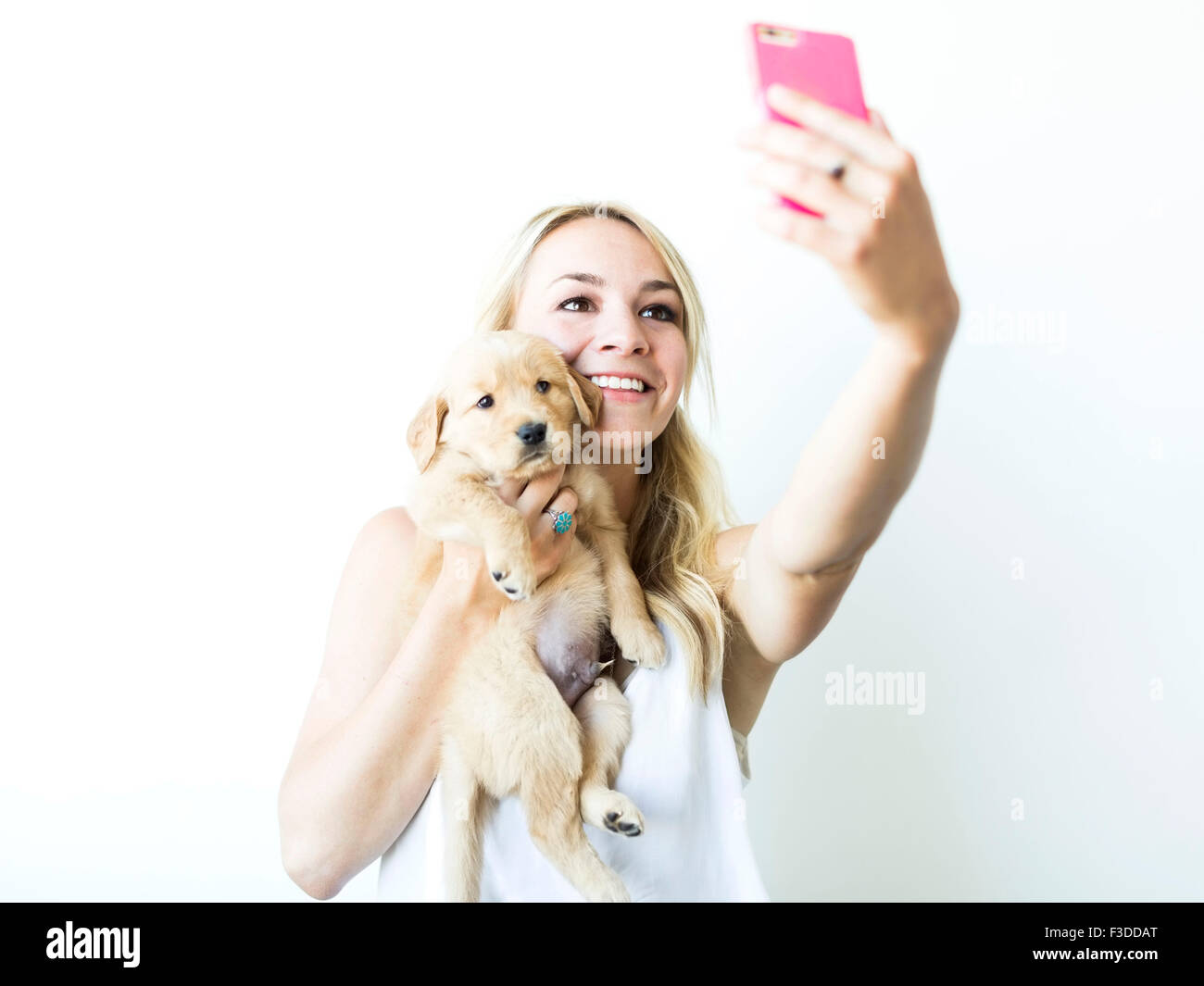Studio shot of woman photographing self with Golden Retriever puppy - Stock Image