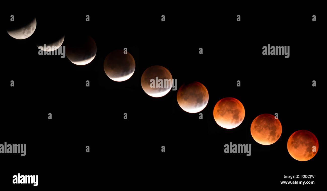 Lunar eclipse - super blood moon transition - Stock Image