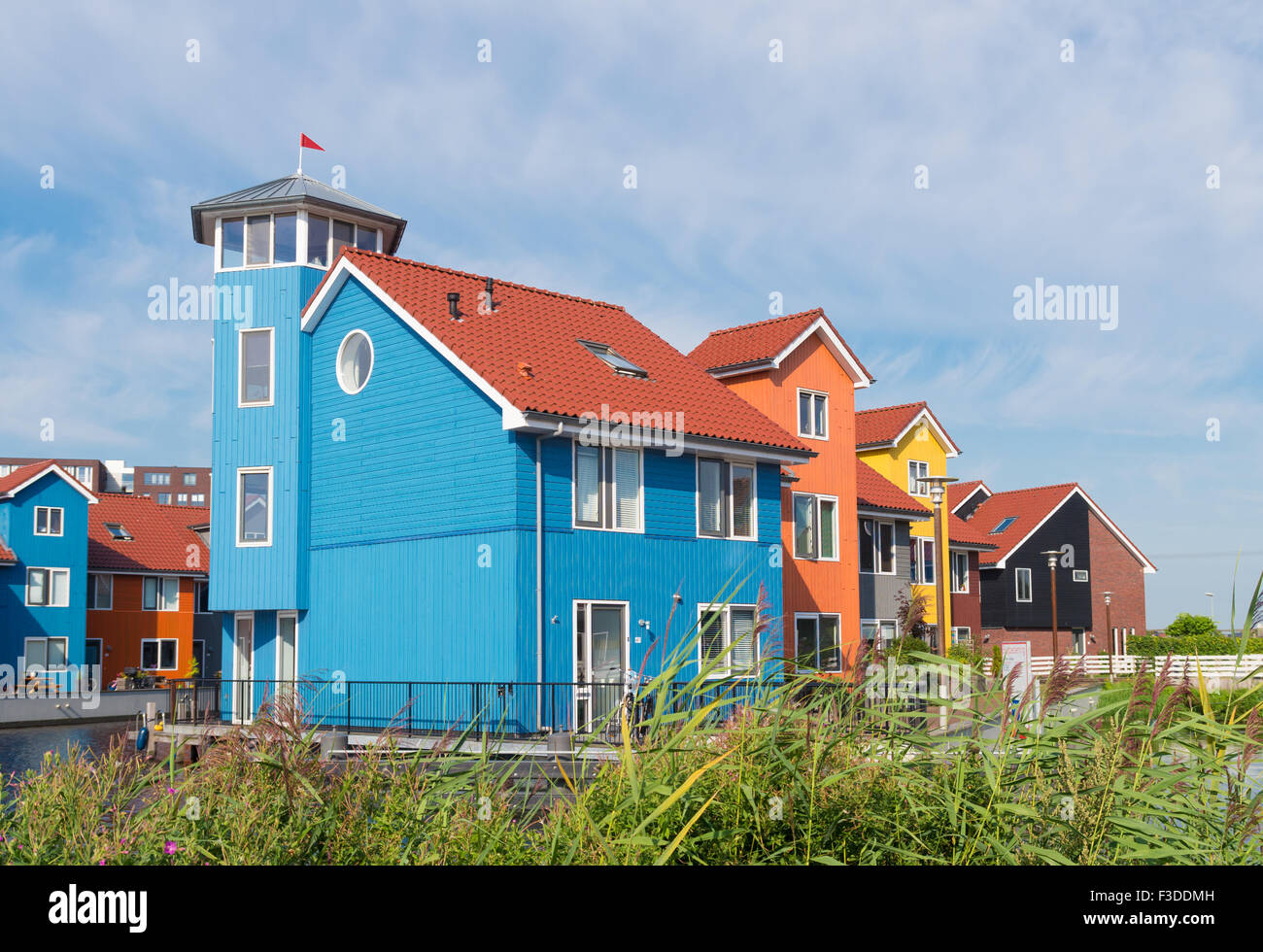 Colorful Wooden Houses In The Groningen Reitdiep Harbor In The Stock