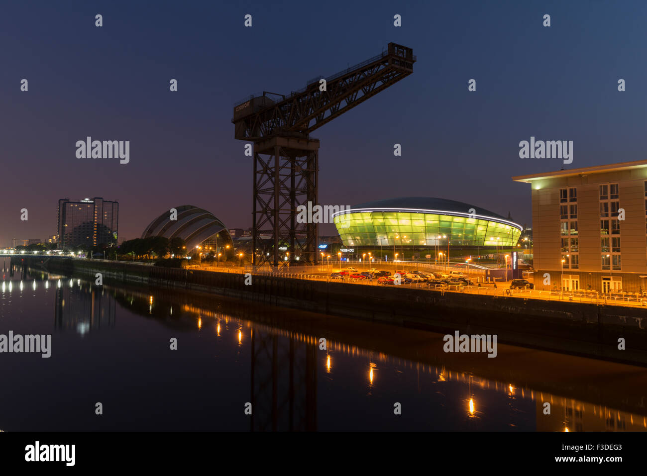 Glasgow landmarks on North bank of Clyde at night,Finnieston,Glasgow,Scotland, UK, - Stock Image
