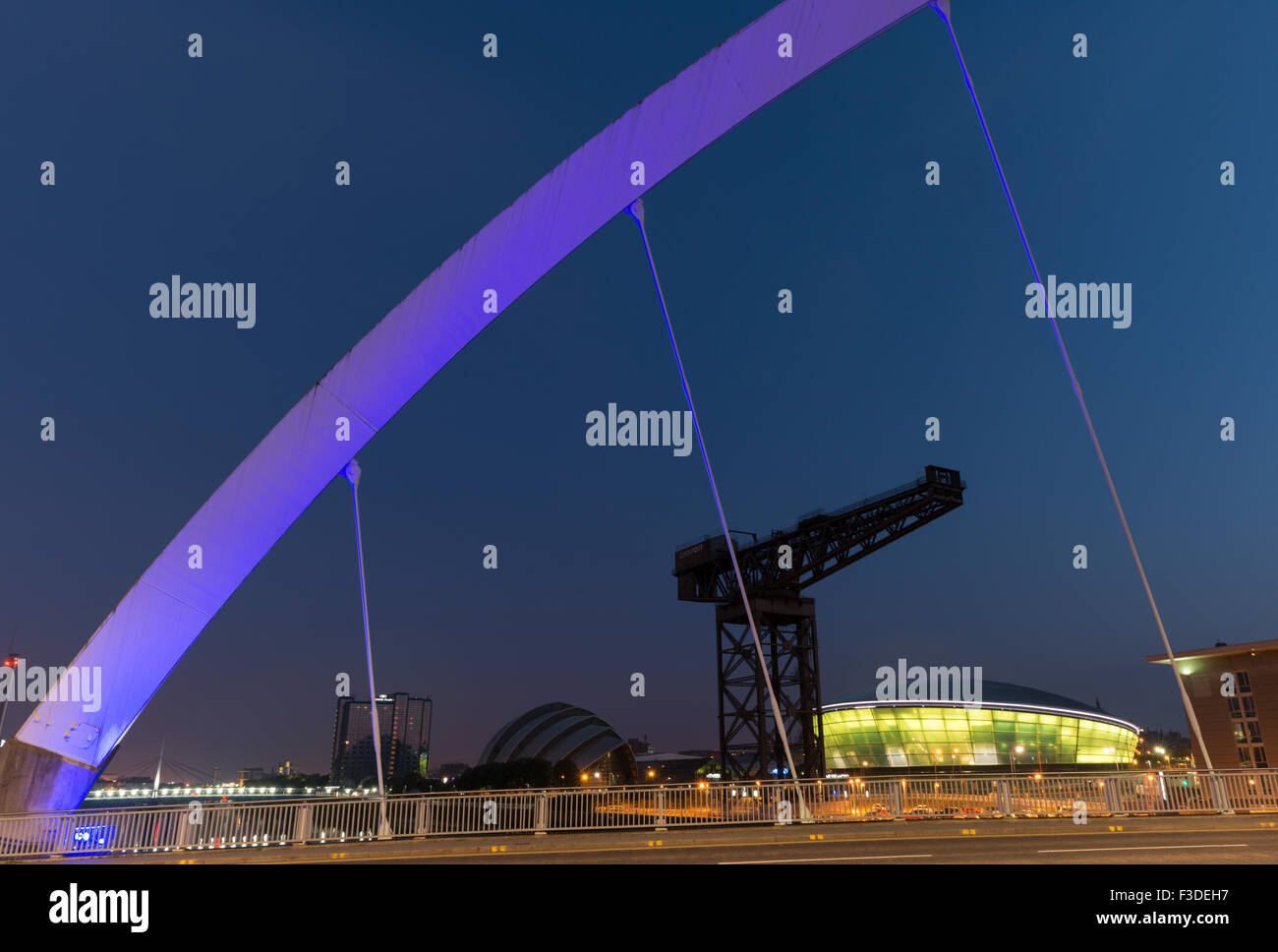 Glasgow landmarks at Finnieston from the Arc bridge,Glasgow,Scotland,UK, - Stock Image