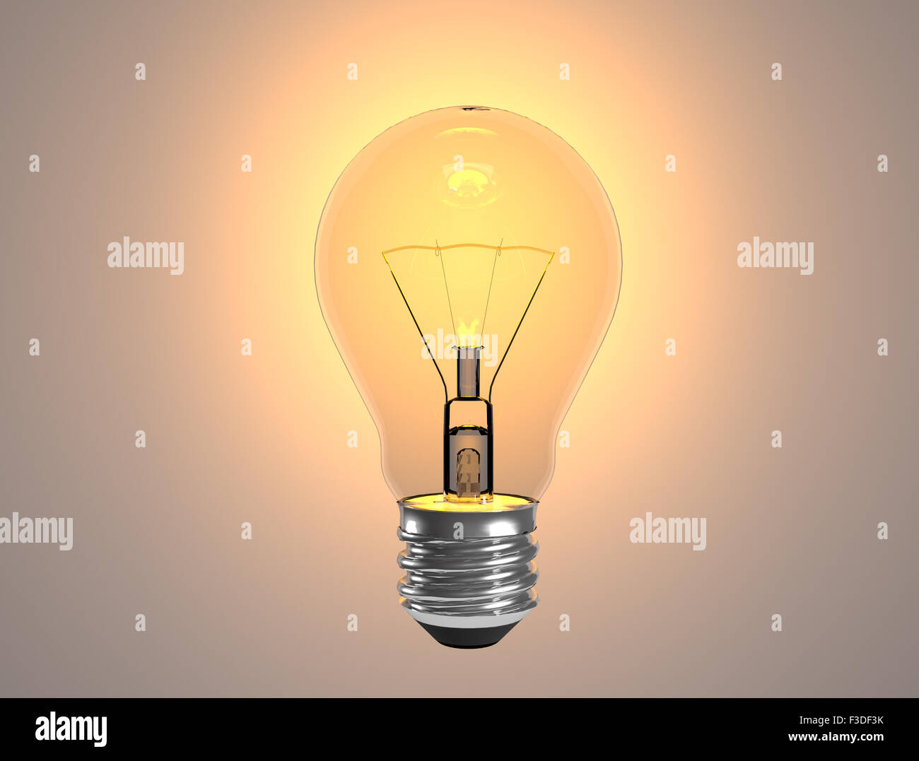 Turn On Tungsten Light Bulb, Glowing Yellow Light Bulb