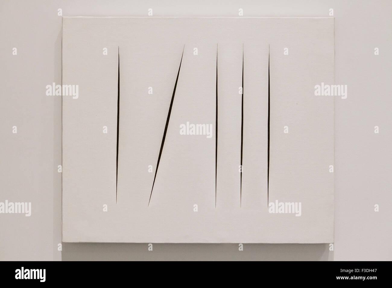 Spacial Concept Expectations by Lucio Fontana, 1967 - Stock Image