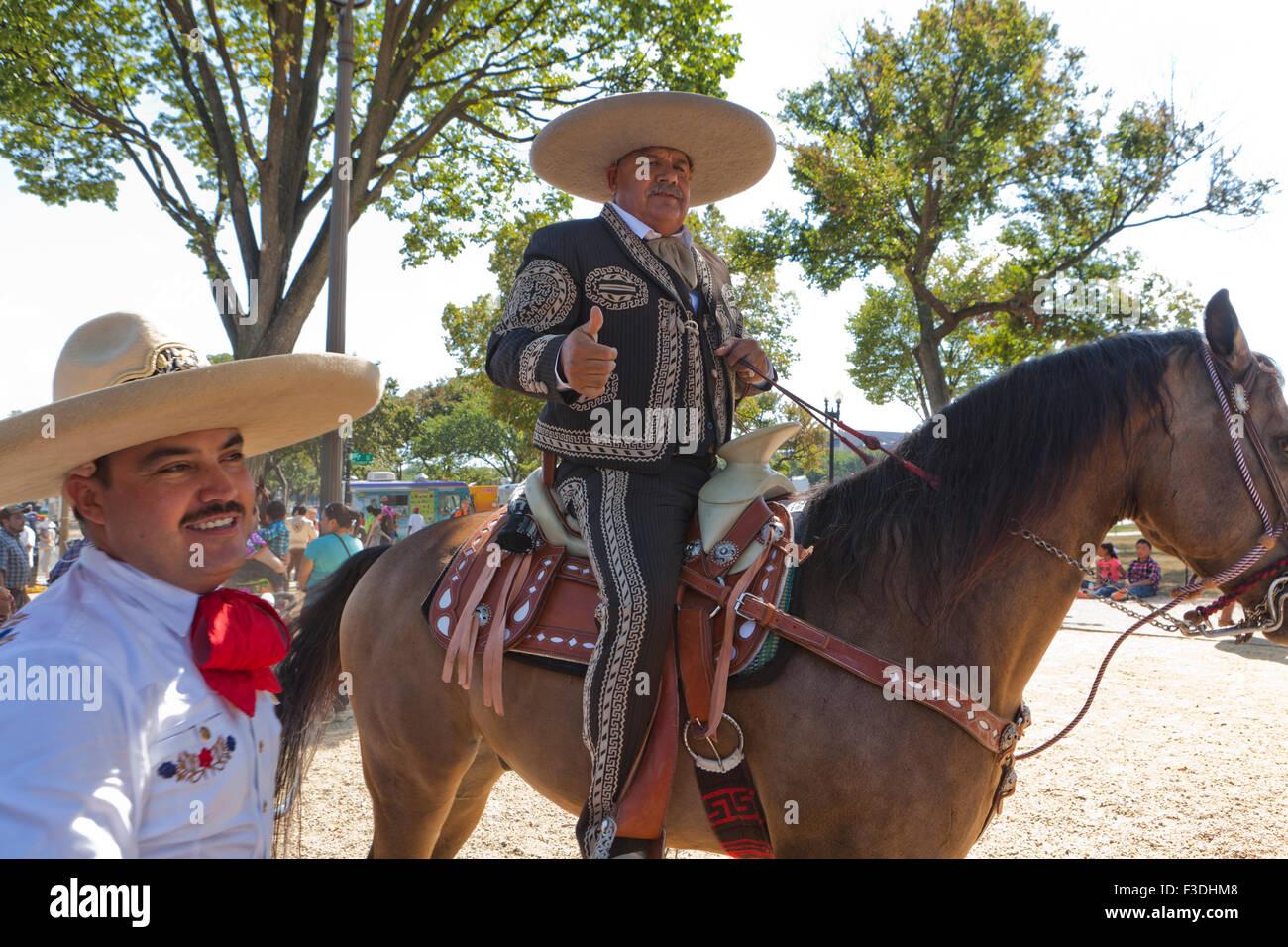 18244f228d3e7 Mexican vaquero (cowboy) on horseback at the Latin festival - Washington