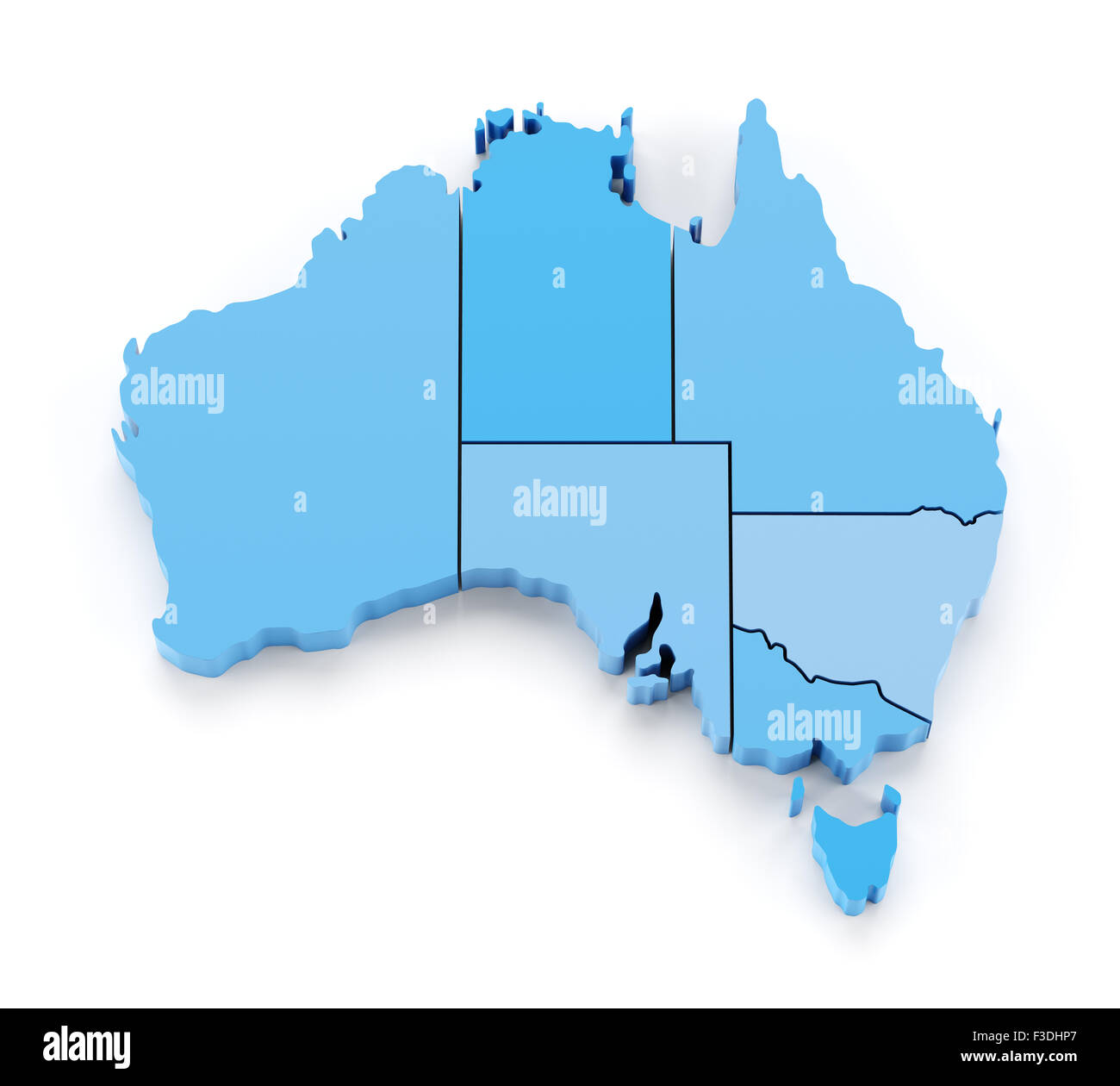 Extruded map of Australia with state borders - Stock Image