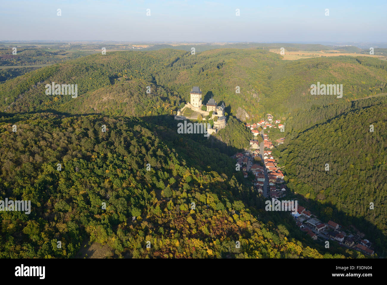CASTLE AND VILLAGE OF KARLSTEJN (aerial view). Bohemia, Czech Republic. - Stock Image