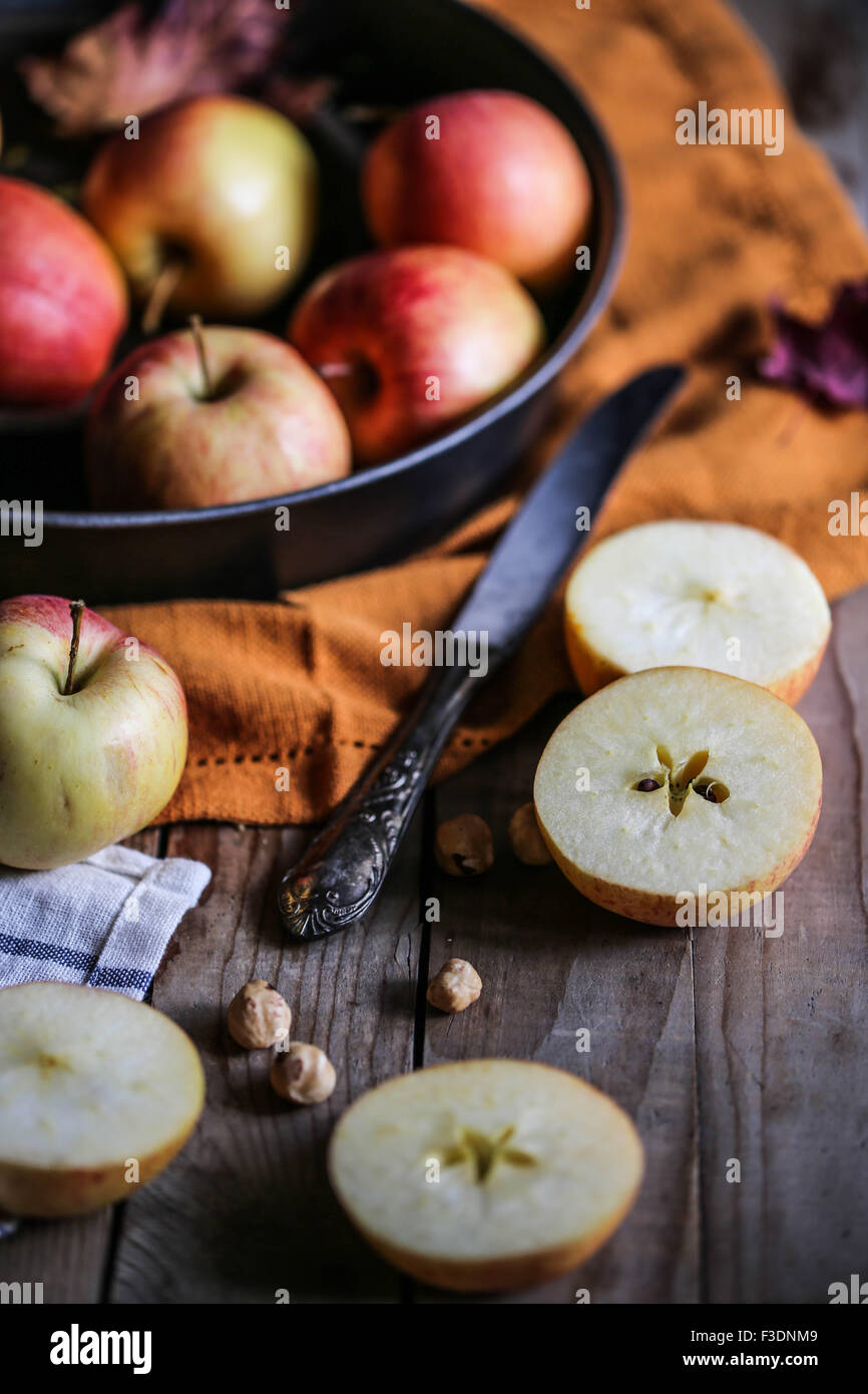 Apples on a wooden table. - Stock Image