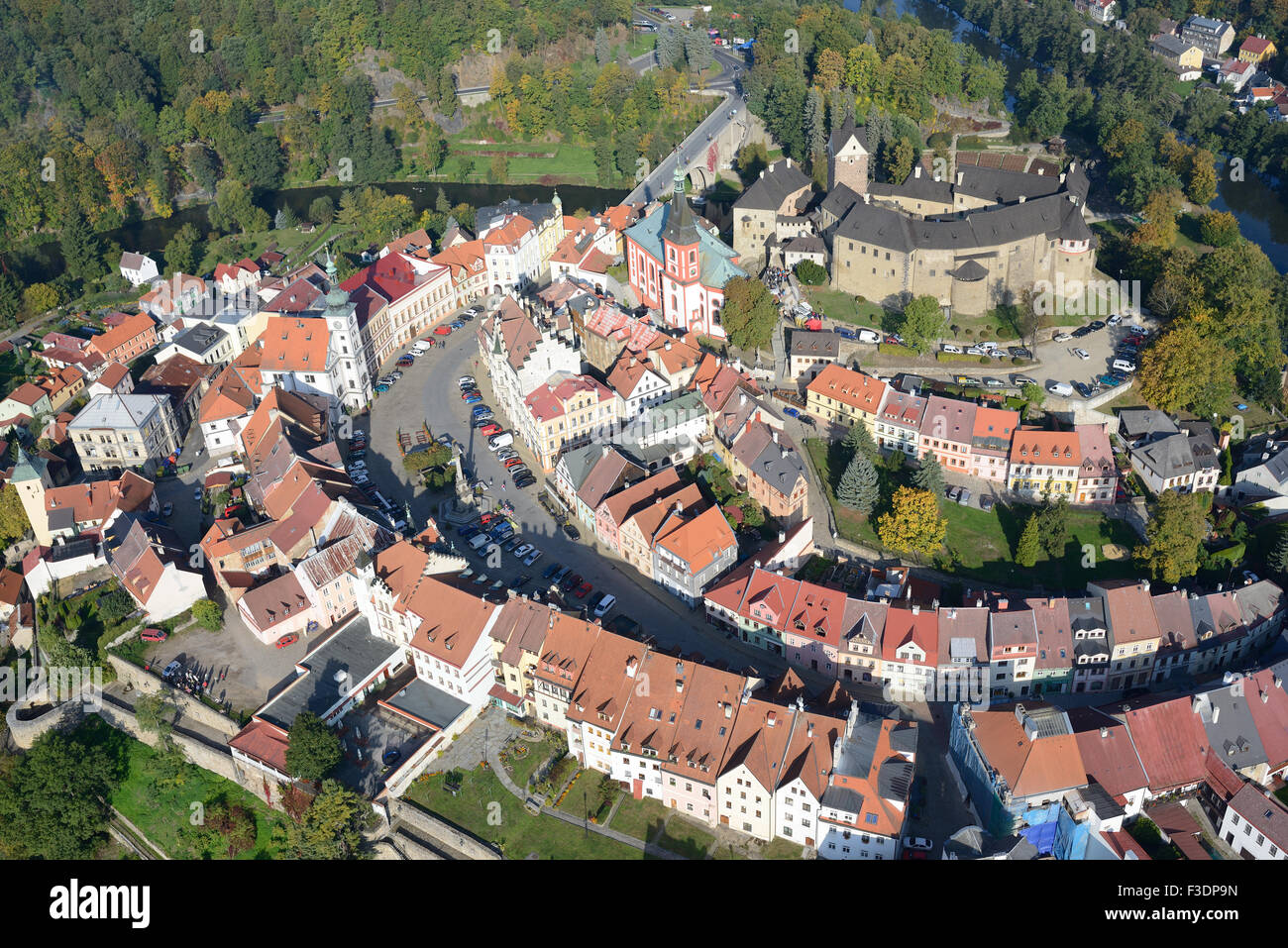 LOKET CASTLE AND VILLAGE (aerial view). Bohemia, Czech Republic. - Stock Image