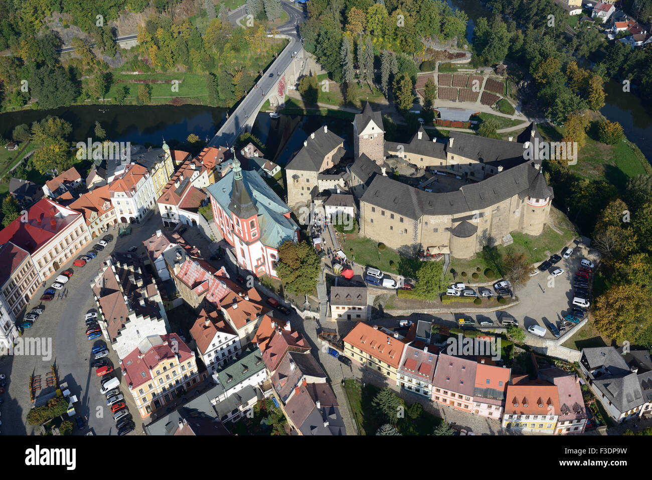 LOKET CASTLE (aerial view). Bohemia, Czech Republic. - Stock Image