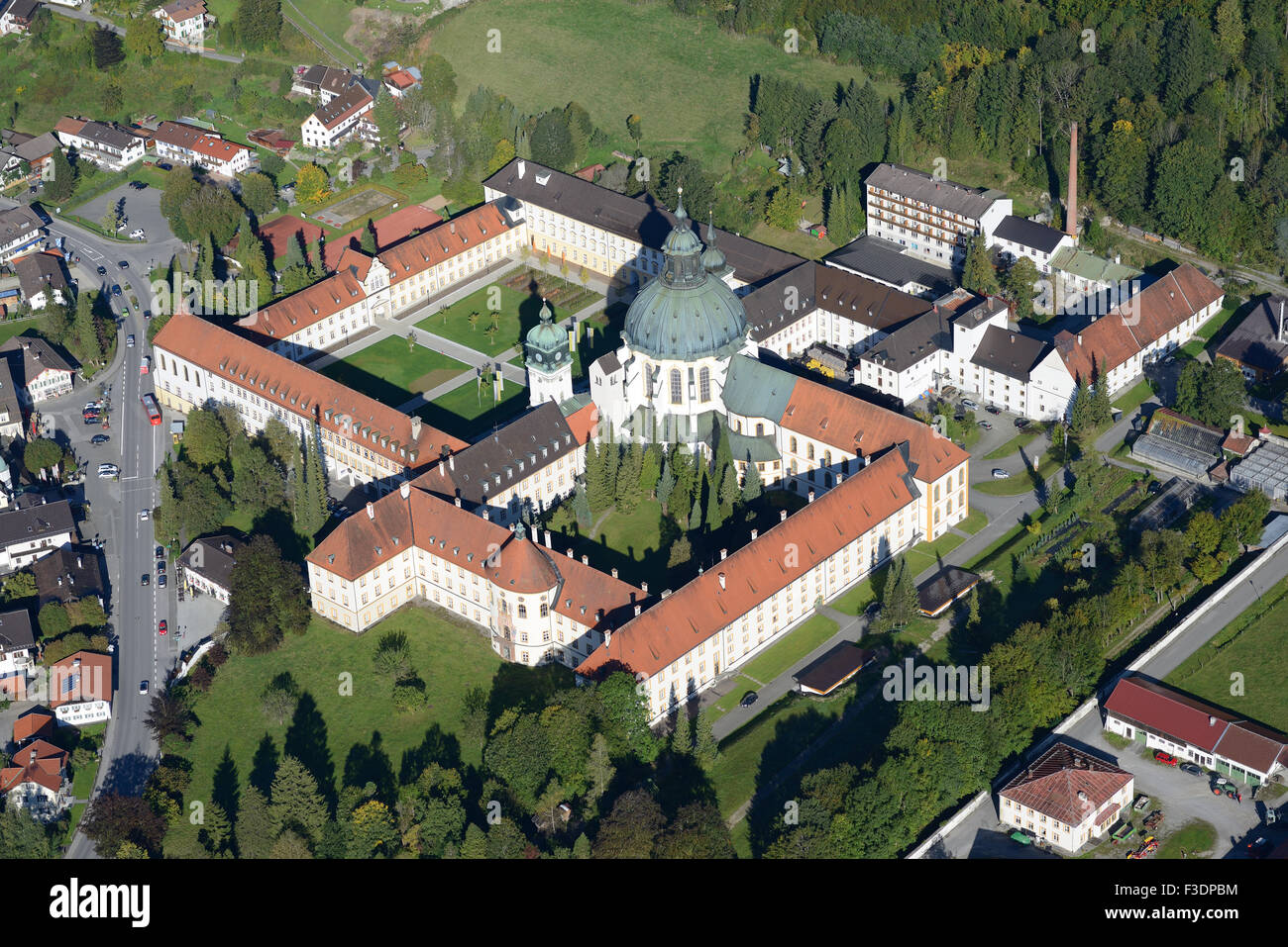 ETTAL ABBEY (aerial view). Benedictine monastery in the village of Ettal, Bavaria, Germany. - Stock Image
