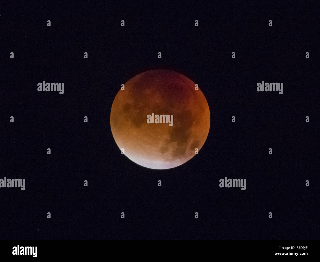 Total lunar eclipse, full moon, 28/09/2015, 04:22:44, Oberhof, Thuringia, Germany - Stock Image