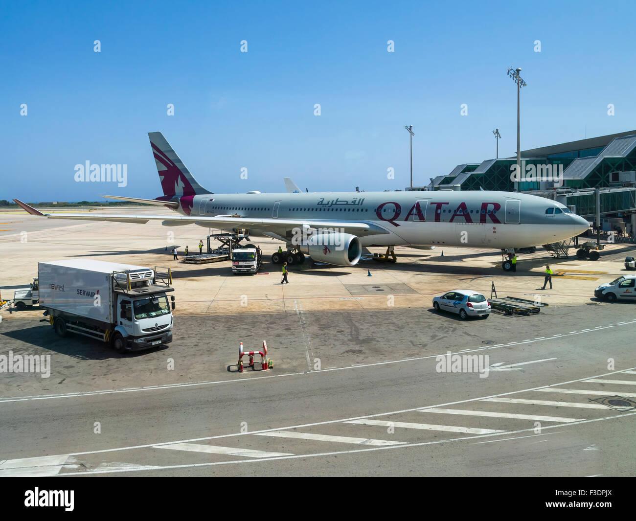 Qatar aircraft at the terminal, Barcelona airport, Spain - Stock Image