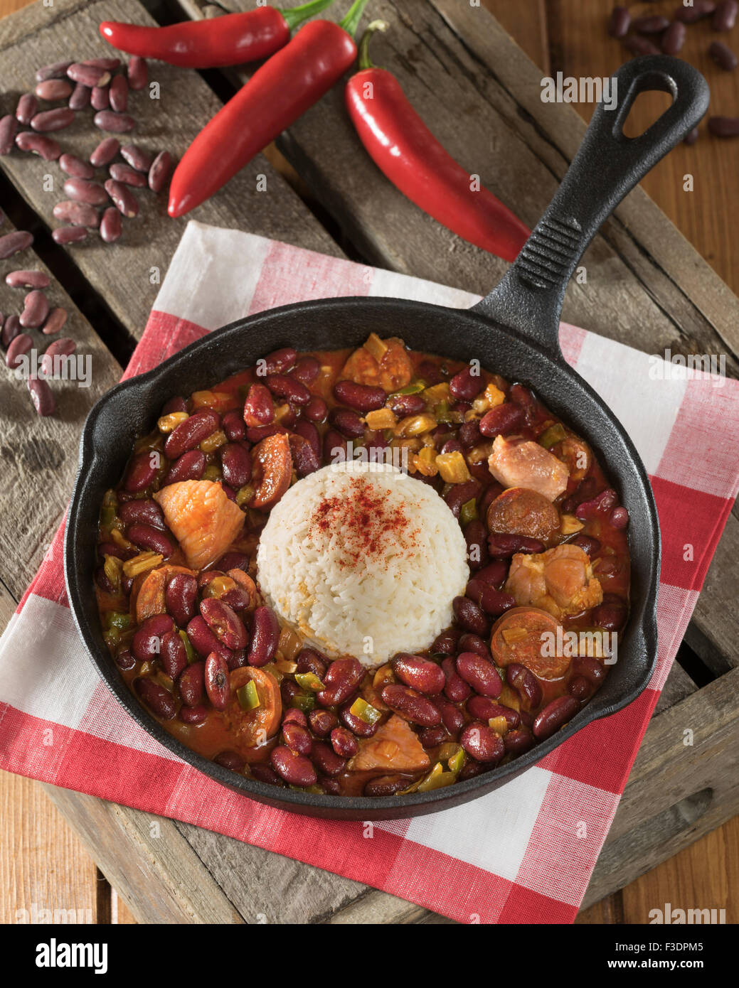 Red beans and rice. Creole food Louisiana USA - Stock Image