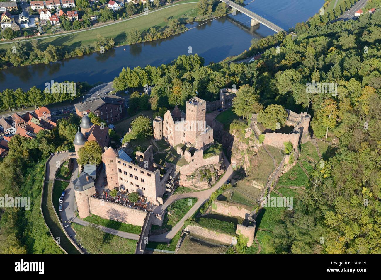 WERTHEIM CASTLE OVERLOOKING THE MAIN RIVER (aerial view). Wertheim am Main, Baden-Württemberg, Germany. - Stock Image