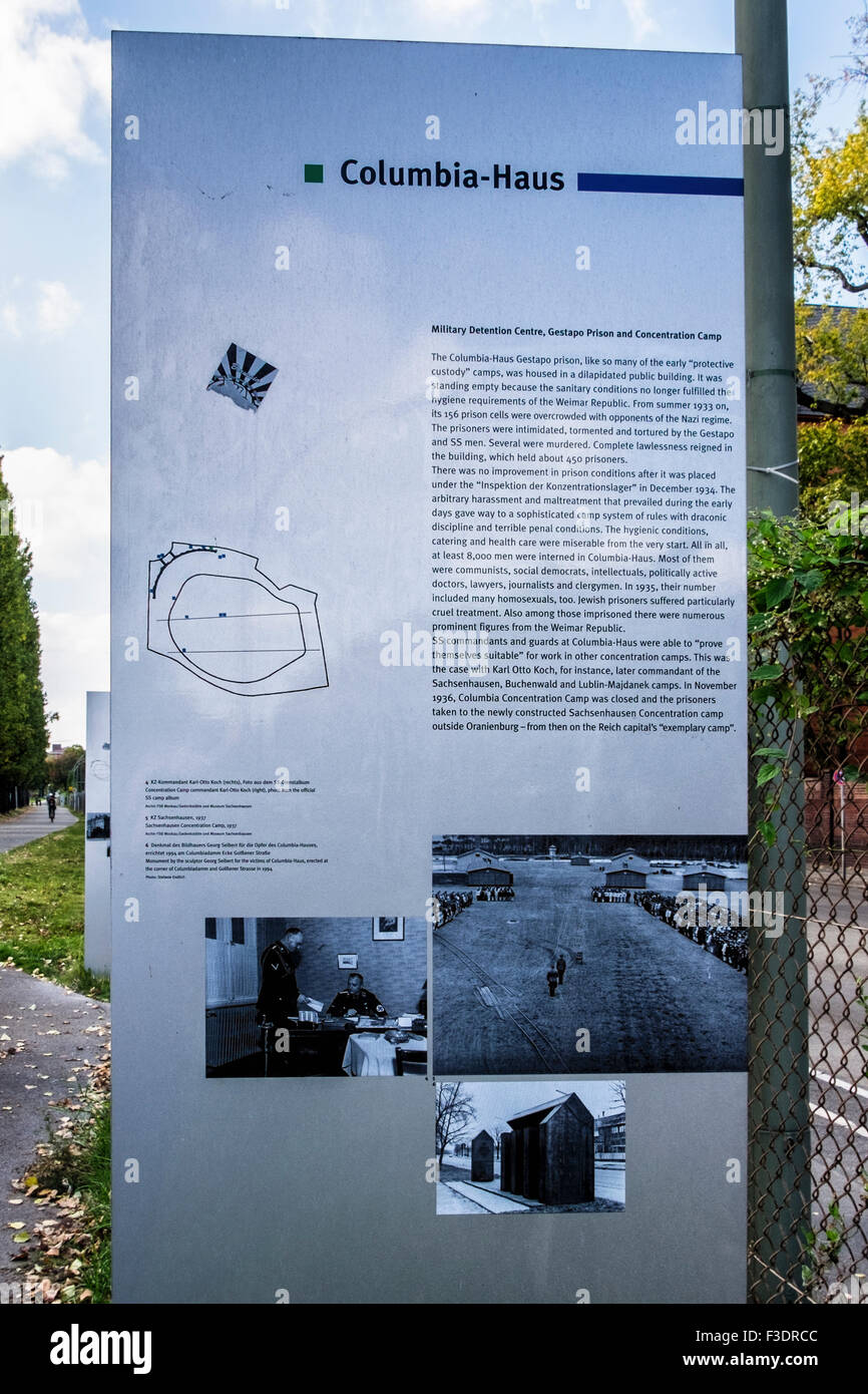Columbia house information board - info about military detention centre and gestapo prison on site of Berlin Tempelhof - Stock Image