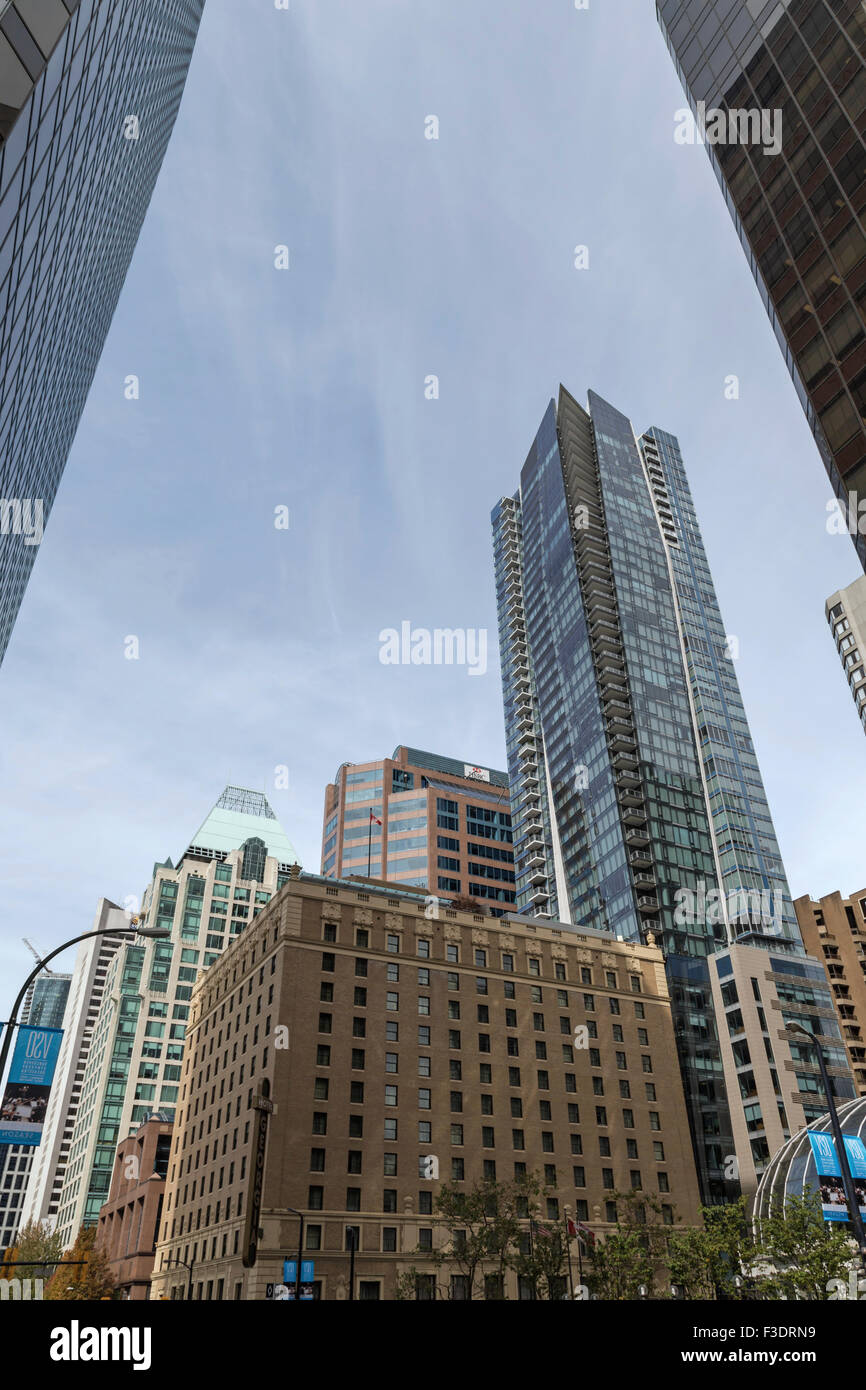 Modern high-rise and state-of-the art architecture in downtown Vancouver, British Columbia, Canada, North America. - Stock Image