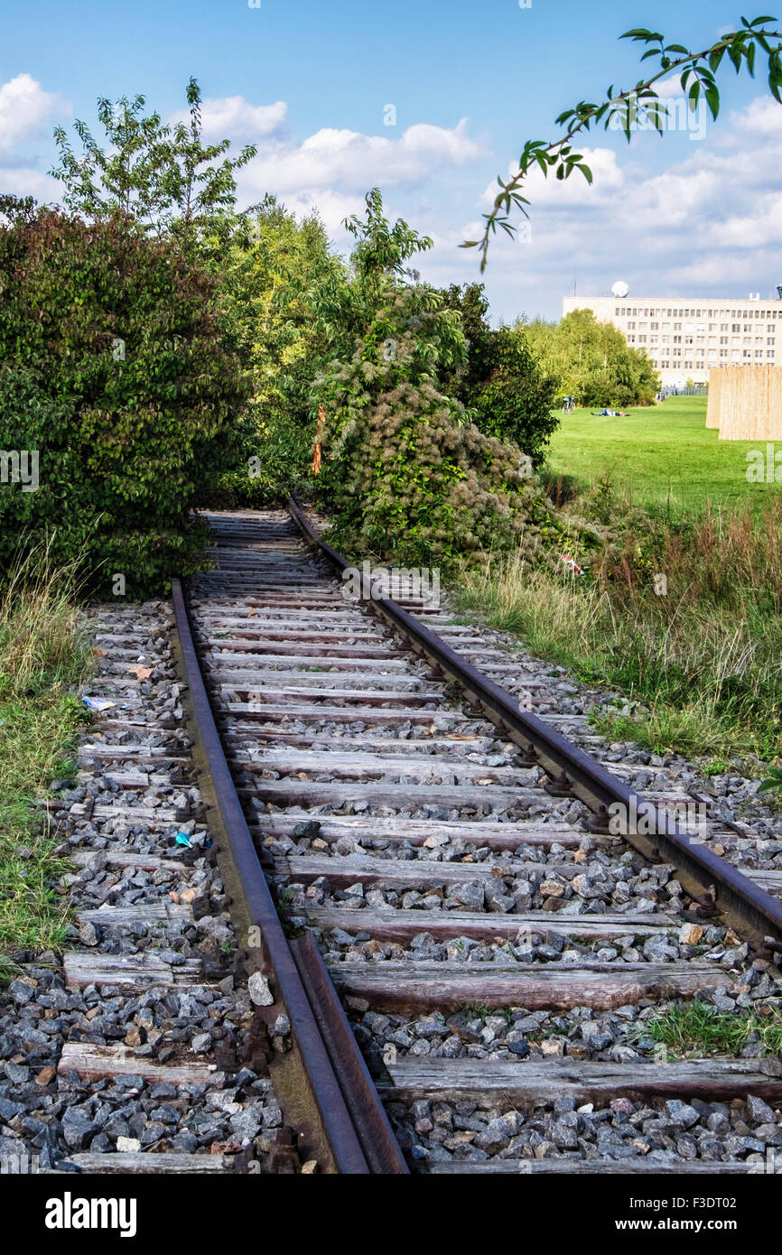 Berlin Tempelhof Airport, Flughafen, Tempelhofer Feld, old overgrown railway tracks - Stock Image
