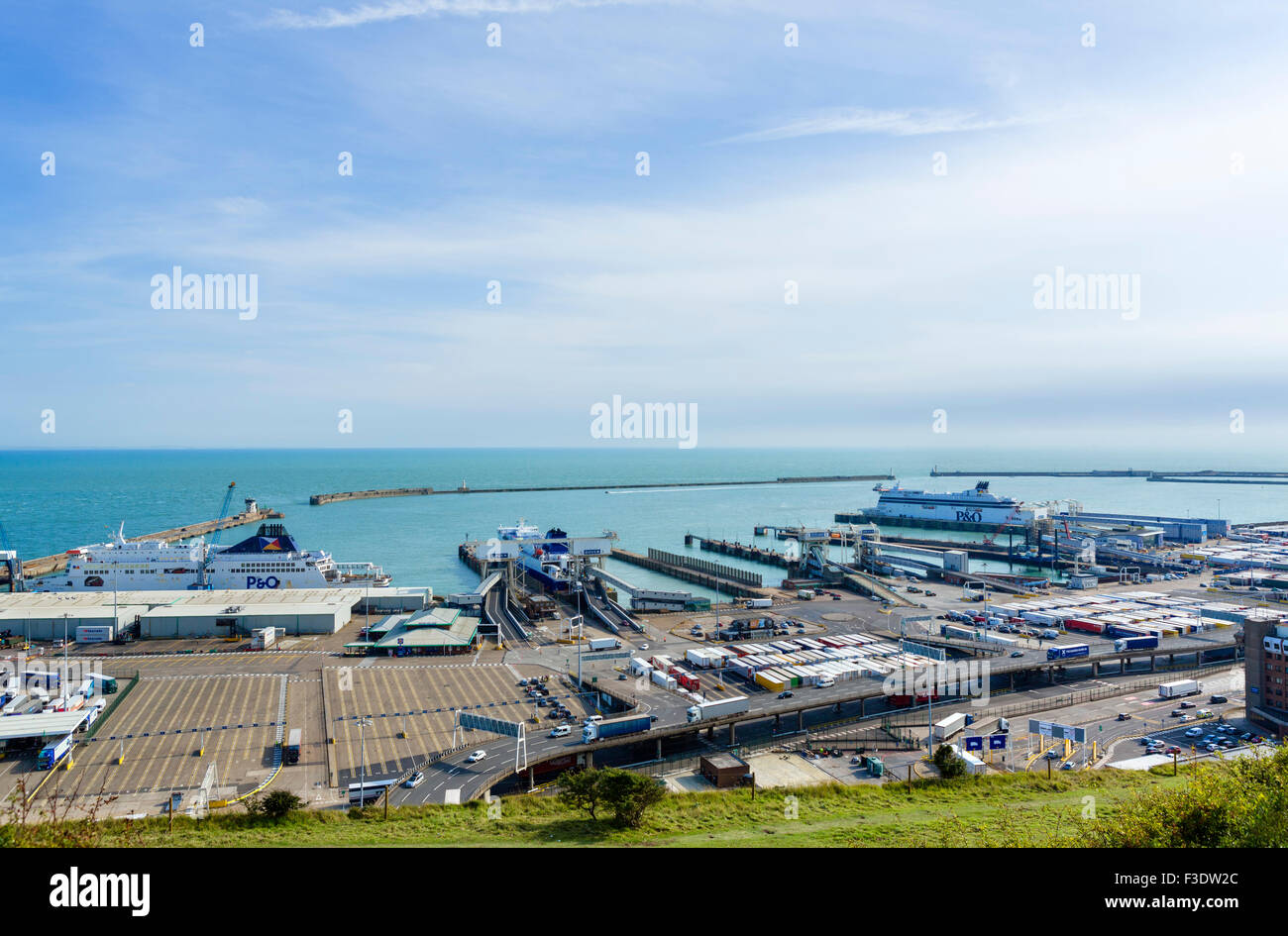 The Port of Dover viewed from the clifftops, Kent, England, UK - Stock Image