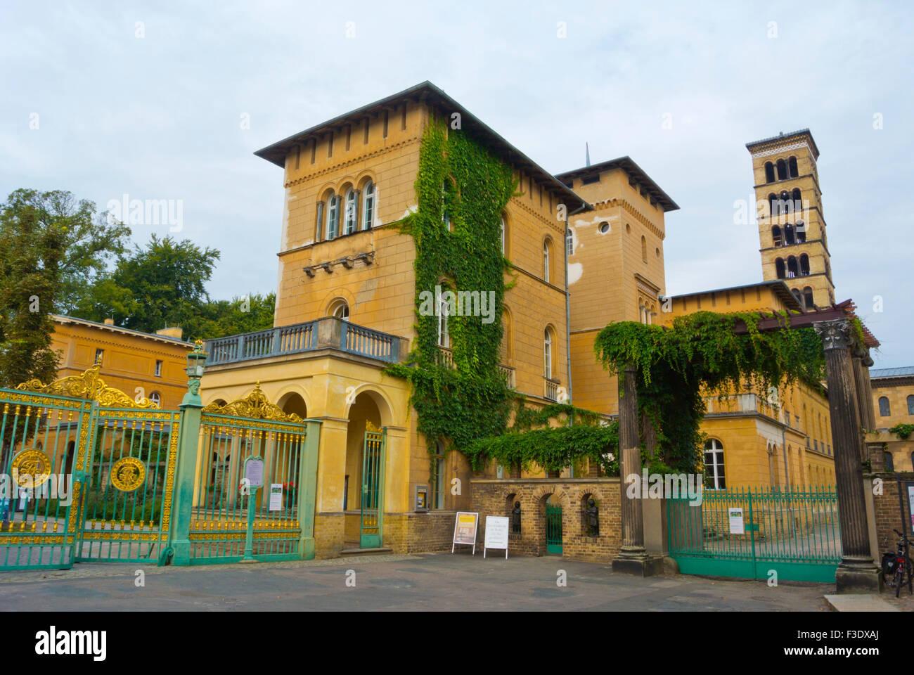 Park Sanssouci gates, with Green Gate and Friedenskirche, church of peace, Potsdam, near Berlin, GermanyG - Stock Image
