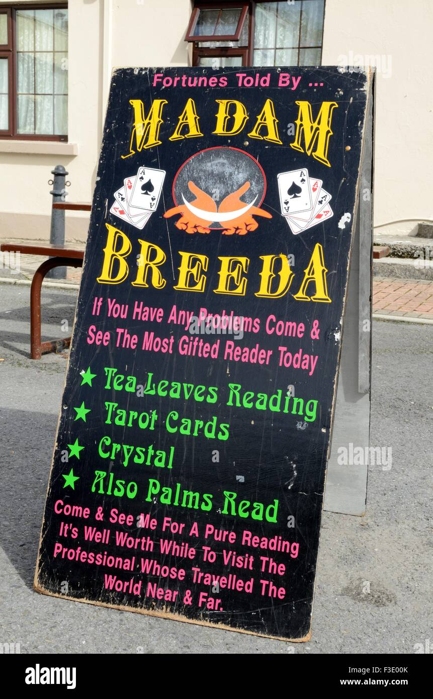 Sign for madam Breeda Romany fortune teller Lisdoonvarna county Clare Ireland Stock Photo