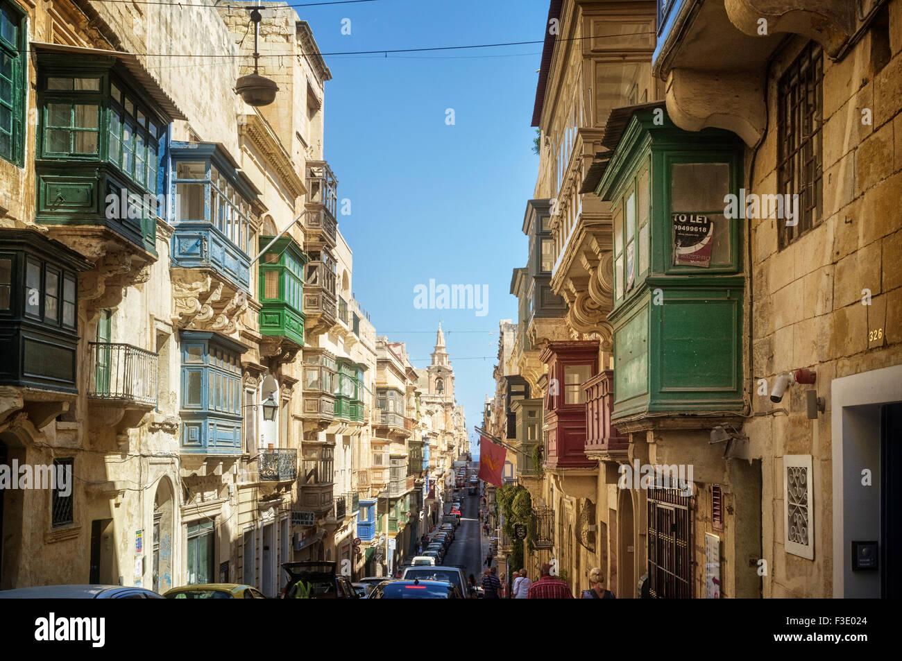 St Paul's Street Valletta - Stock Image