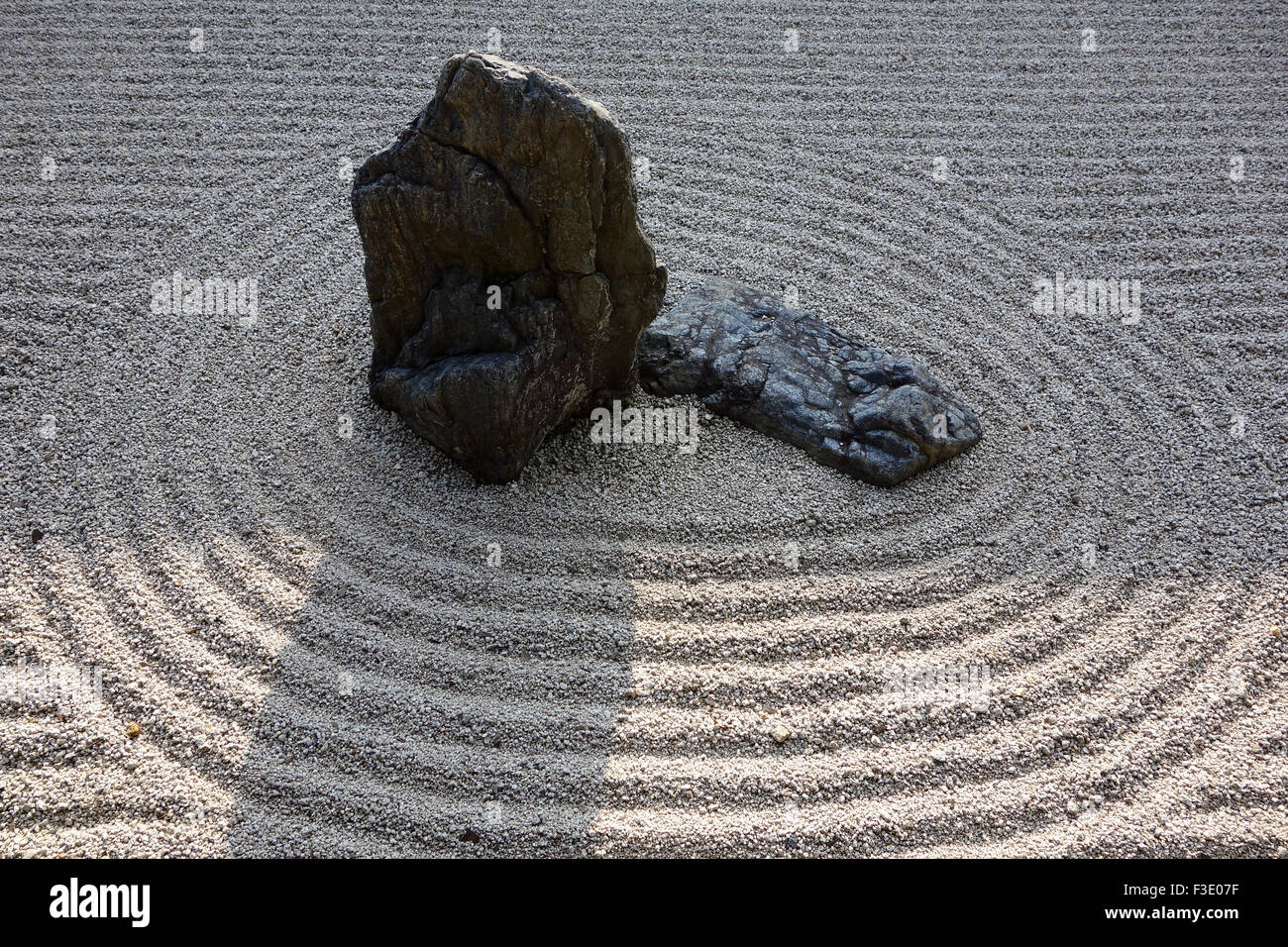 A section of karesansui or dry garden style at the Leaping Tiger Garden in the Nanzen.ji Zen Temple in Kyoto, Japan. - Stock Image