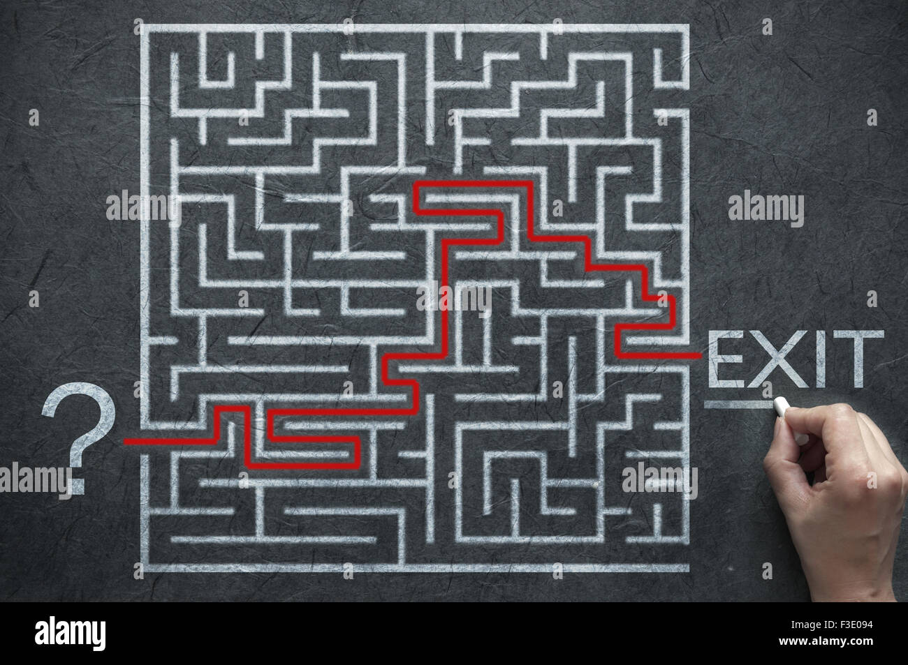 Maze path solution leading from start point to exit sign - Stock Image