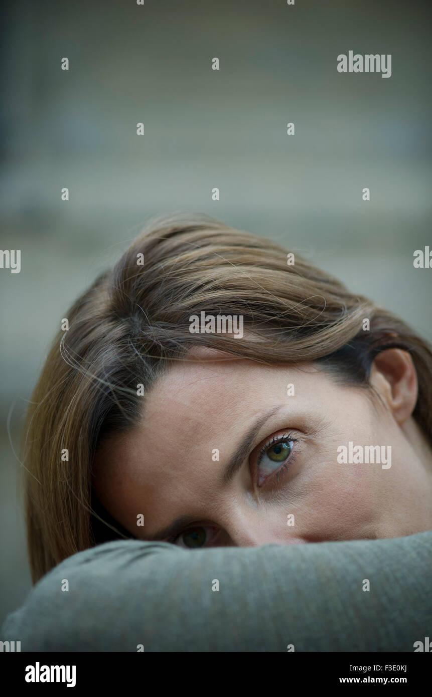 Mature woman, portrait - Stock Image
