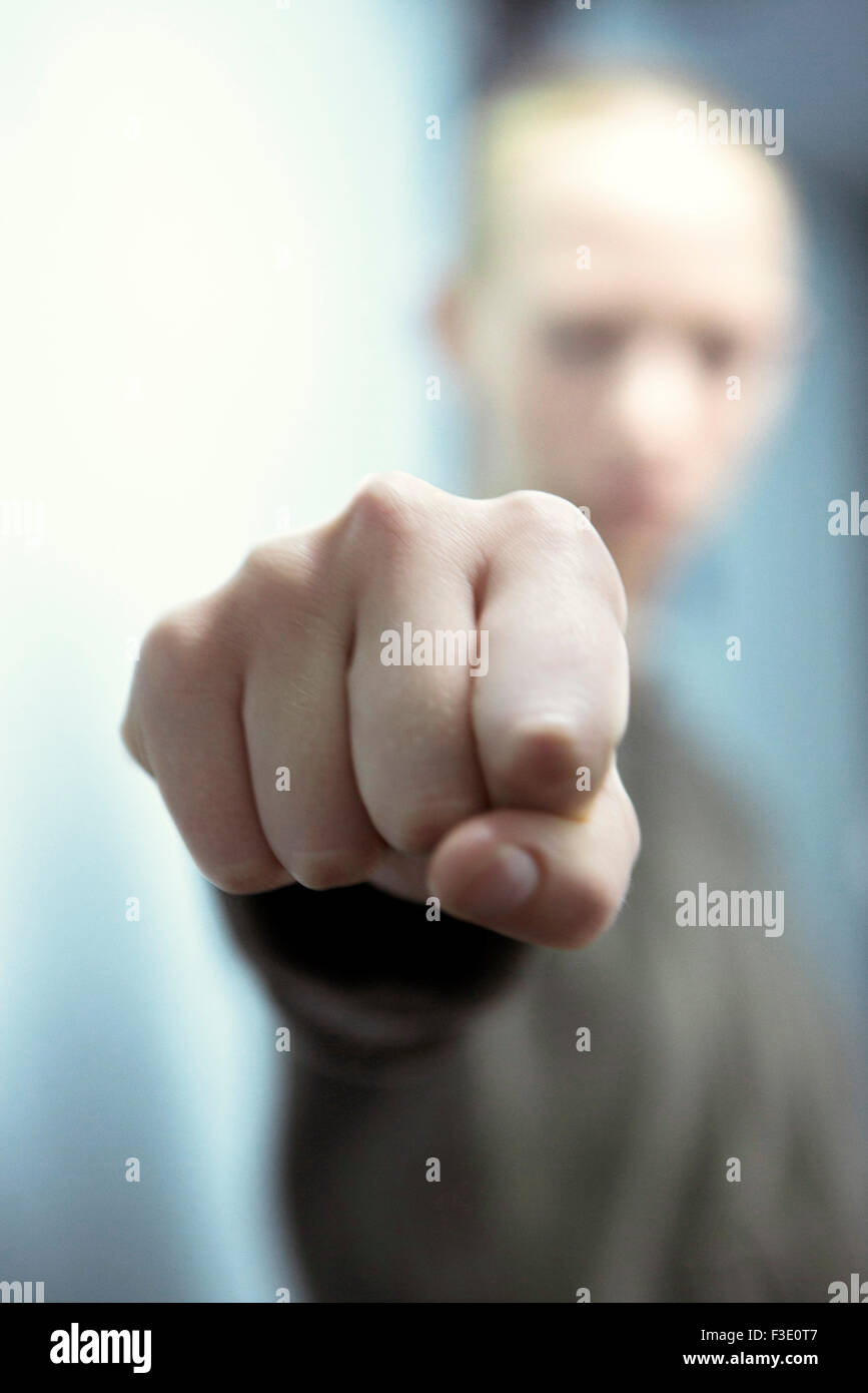 Woman pointing, personal perspective - Stock Image
