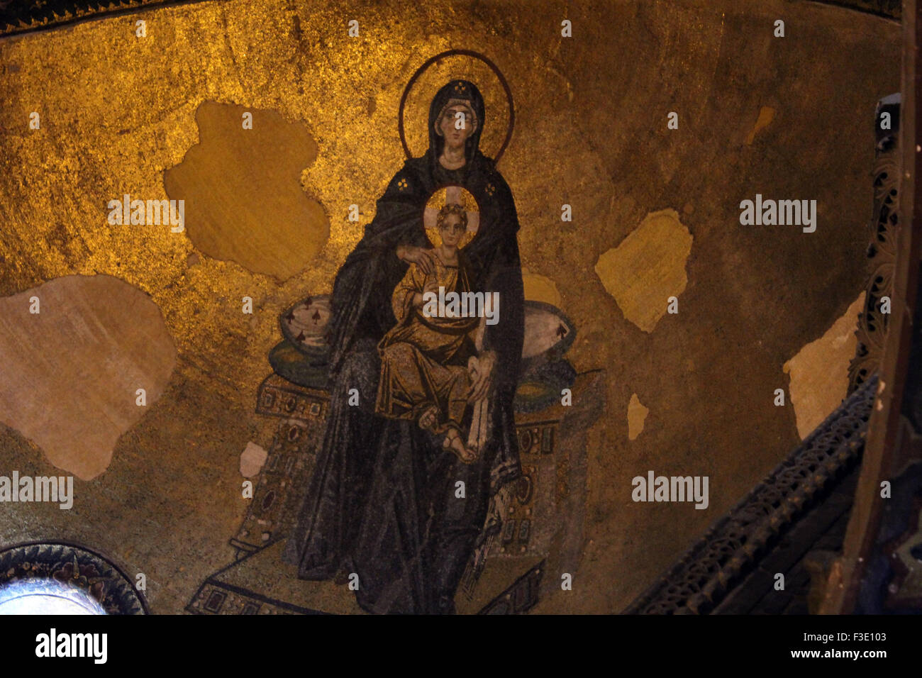 Virgin and The Child mosaic image in the apse of Hagia Sophia Museum in Istanbul. Stock Photo