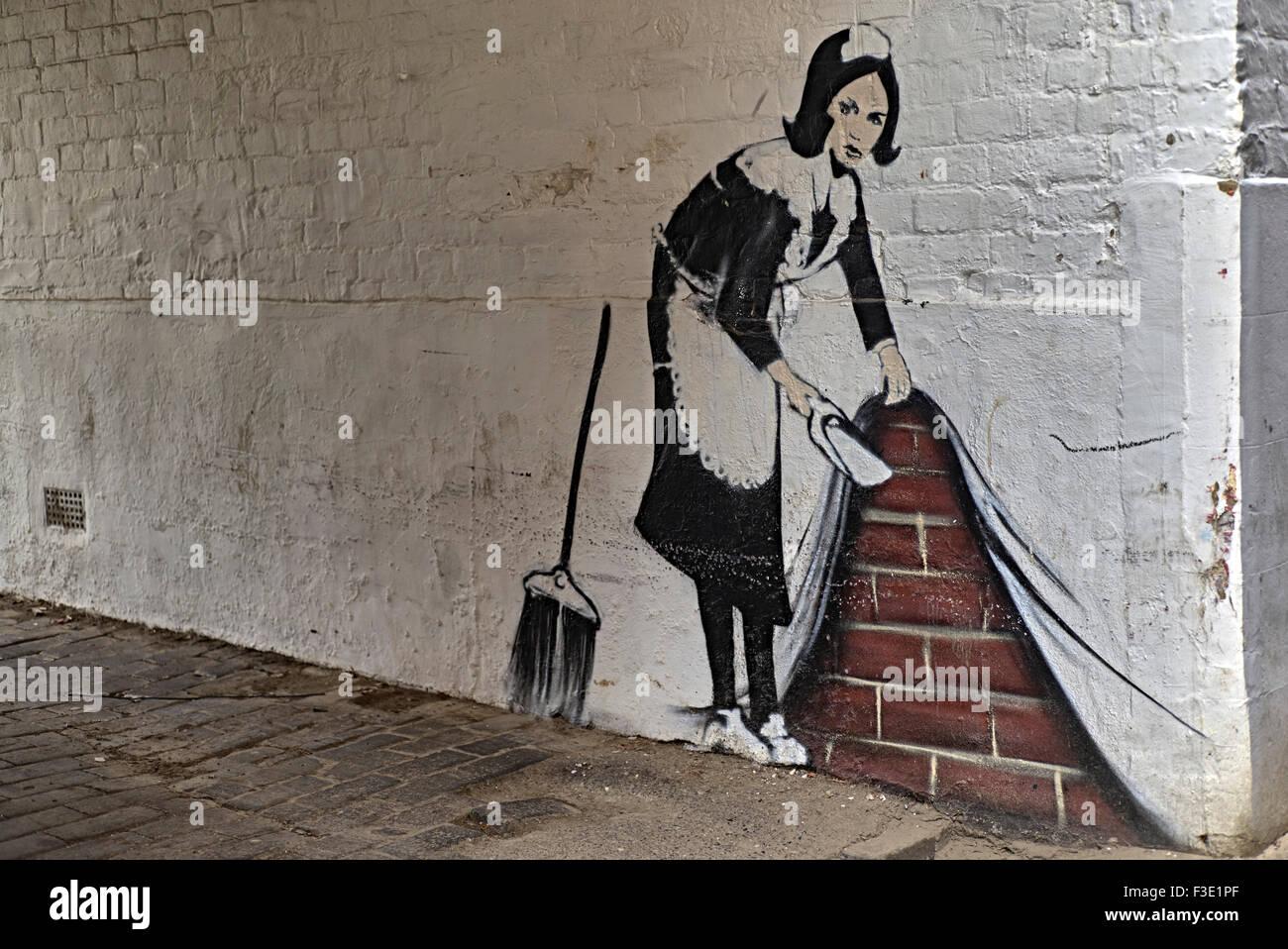 Wall art graffiti banksy style england uk