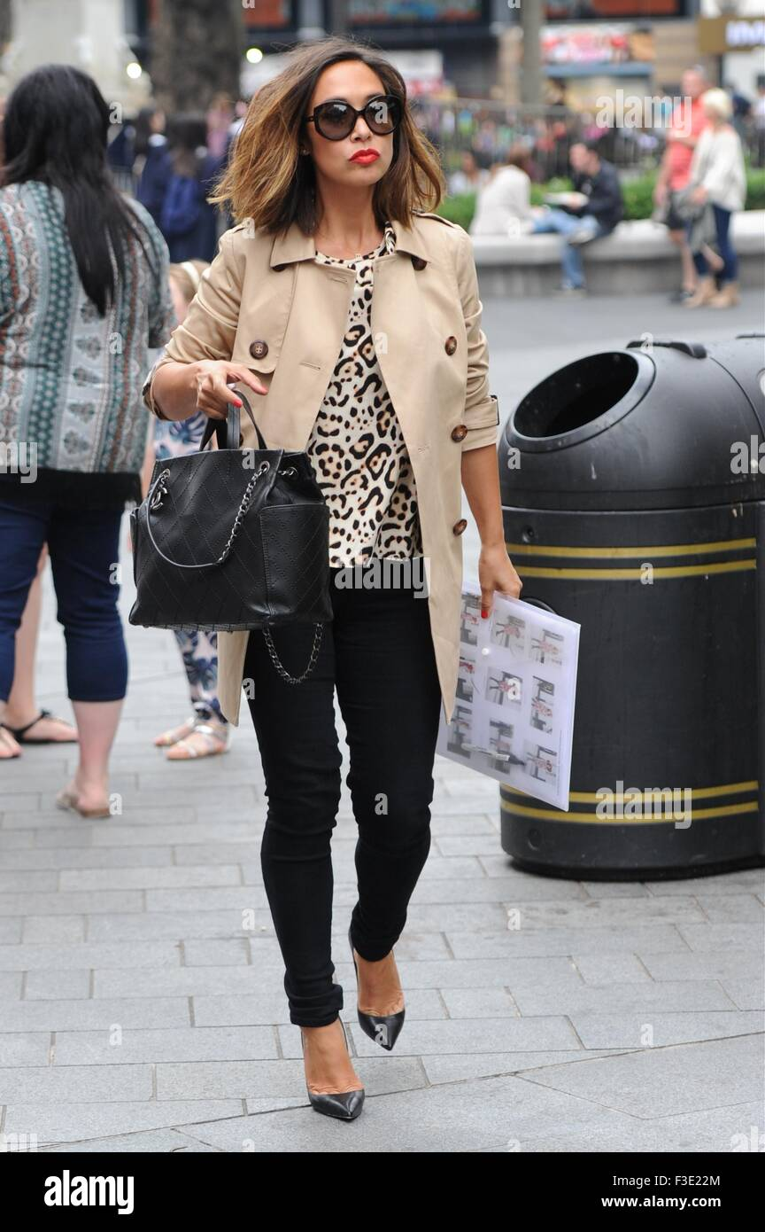 Myleene Klass seen out in London on way to smooth Radio holding a