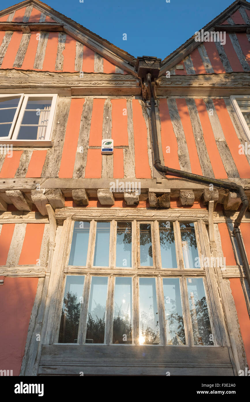 Exterior detail of a medieval timber-framed building in the village of Lavenham, Suffolk, England. - Stock Image