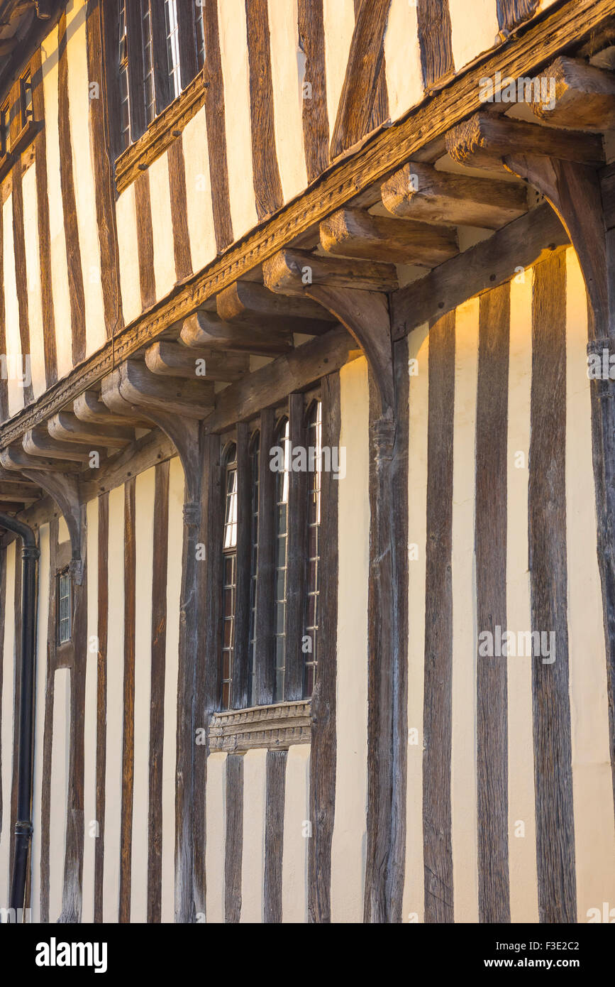 Suffolk medieval building, detail of a medieval timber-framed building in the village of Lavenham, Suffolk, England, Stock Photo