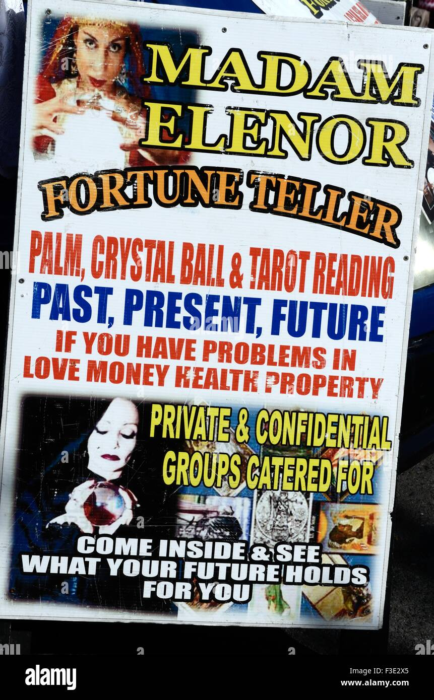 Sign for Madam Elinor Romany fortune teller at Lisdoonvarna Matchmaking Festival County ClareIireland Stock Photo