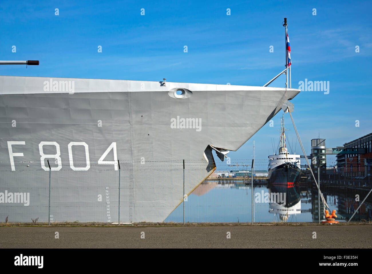 The bow of HNLMS De Ruyter belonging the the Royal Netherlands Navy, looking rather sharklike, on a visit to Leith, Stock Photo