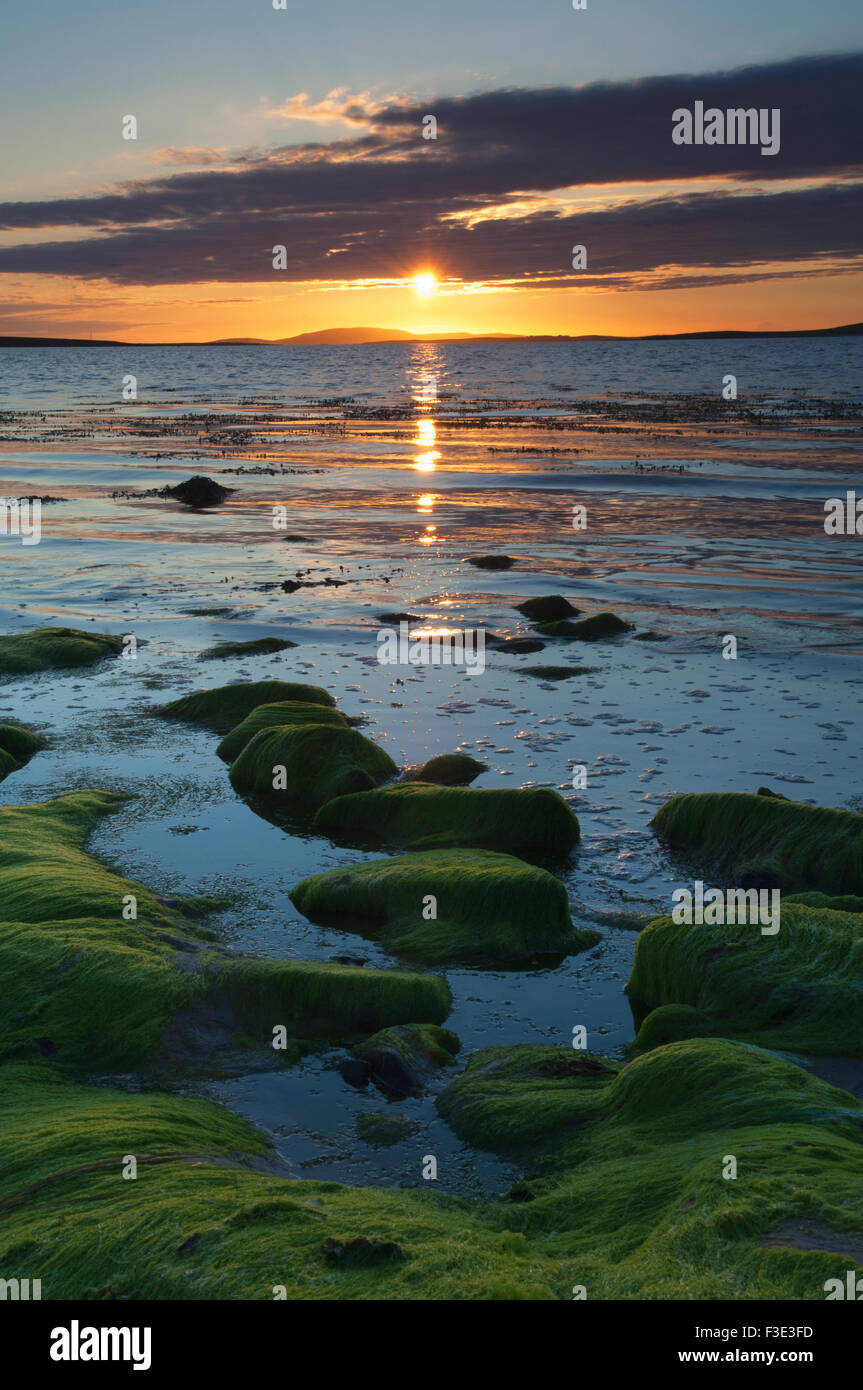 Sunset at the Sands of Mussetter on the island of Eday, Orkney Islands, Scotland. Stock Photo