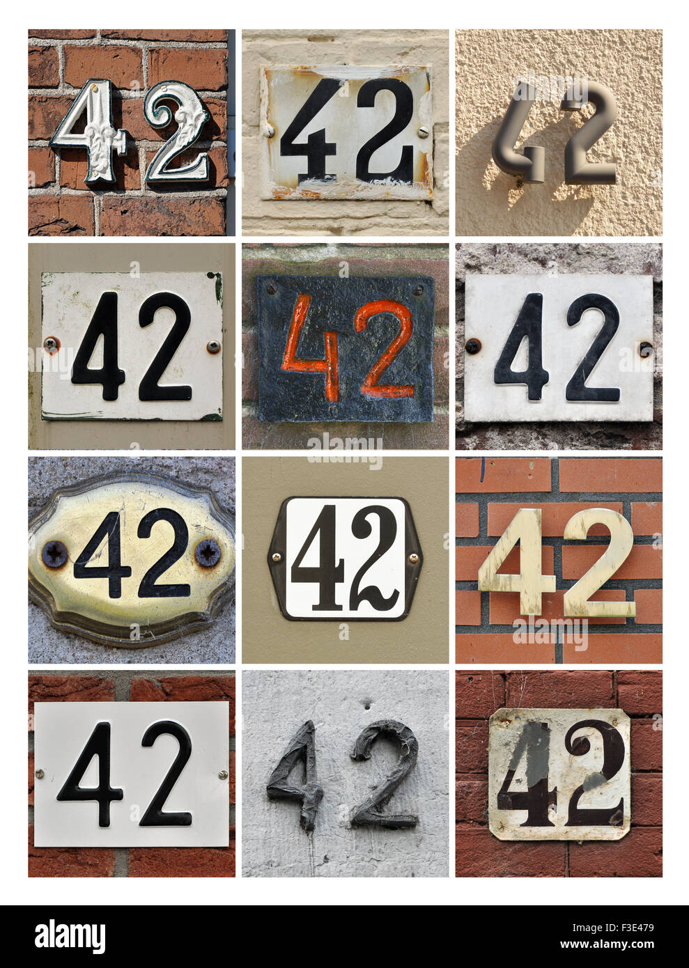Number 42 - Collage of House Numbers Forty-two - Stock Image