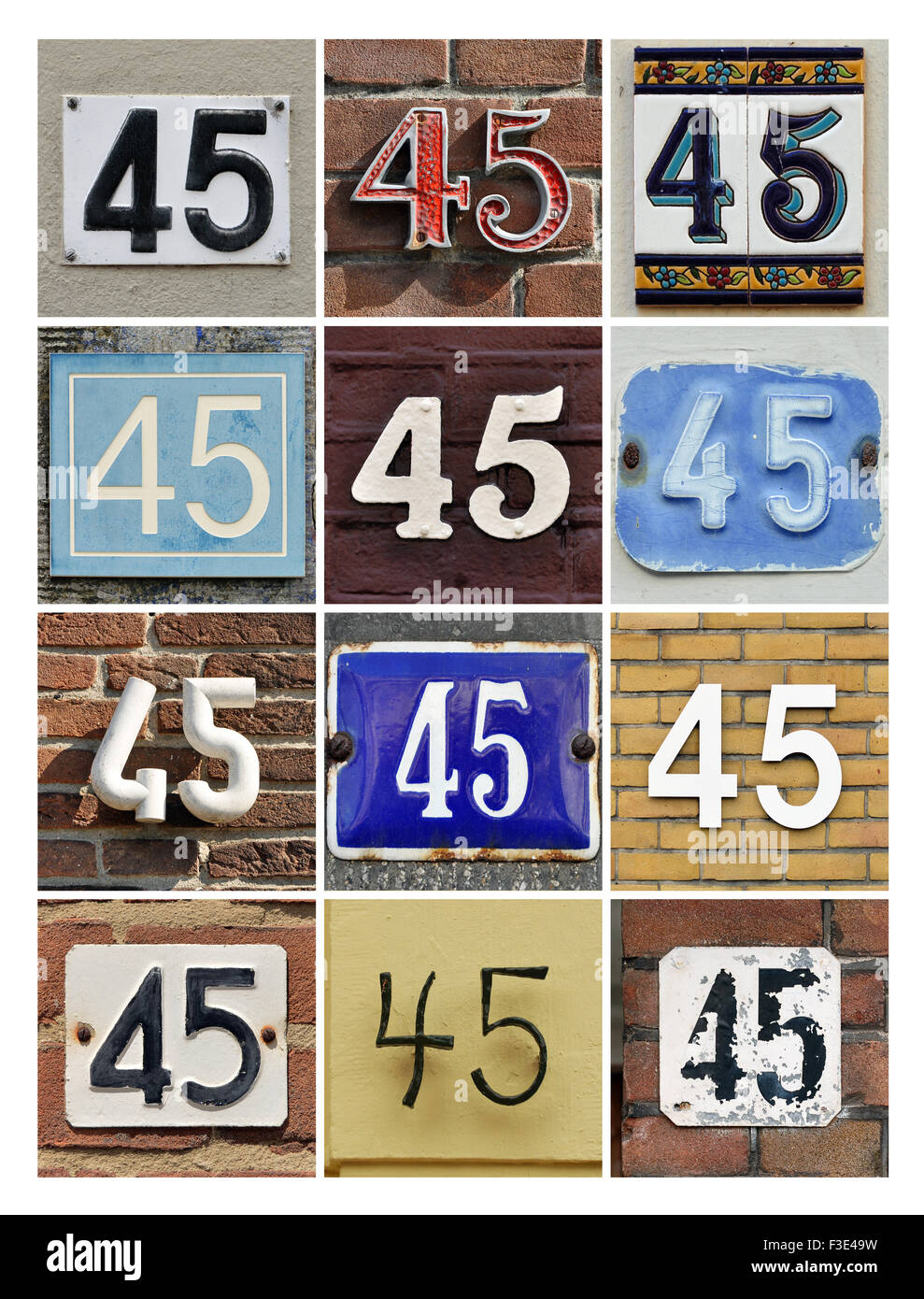 Collage of House Numbers Forty-five - Stock Image