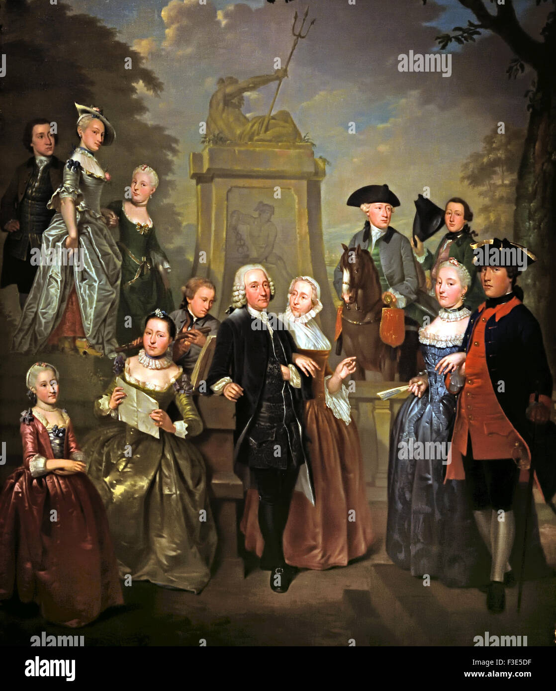 Theodorus Diocese van Vliet and his family  1757 by Jan Stolker  ( Portrait of Theodore Diocese van Vliet (1698 - Stock Image
