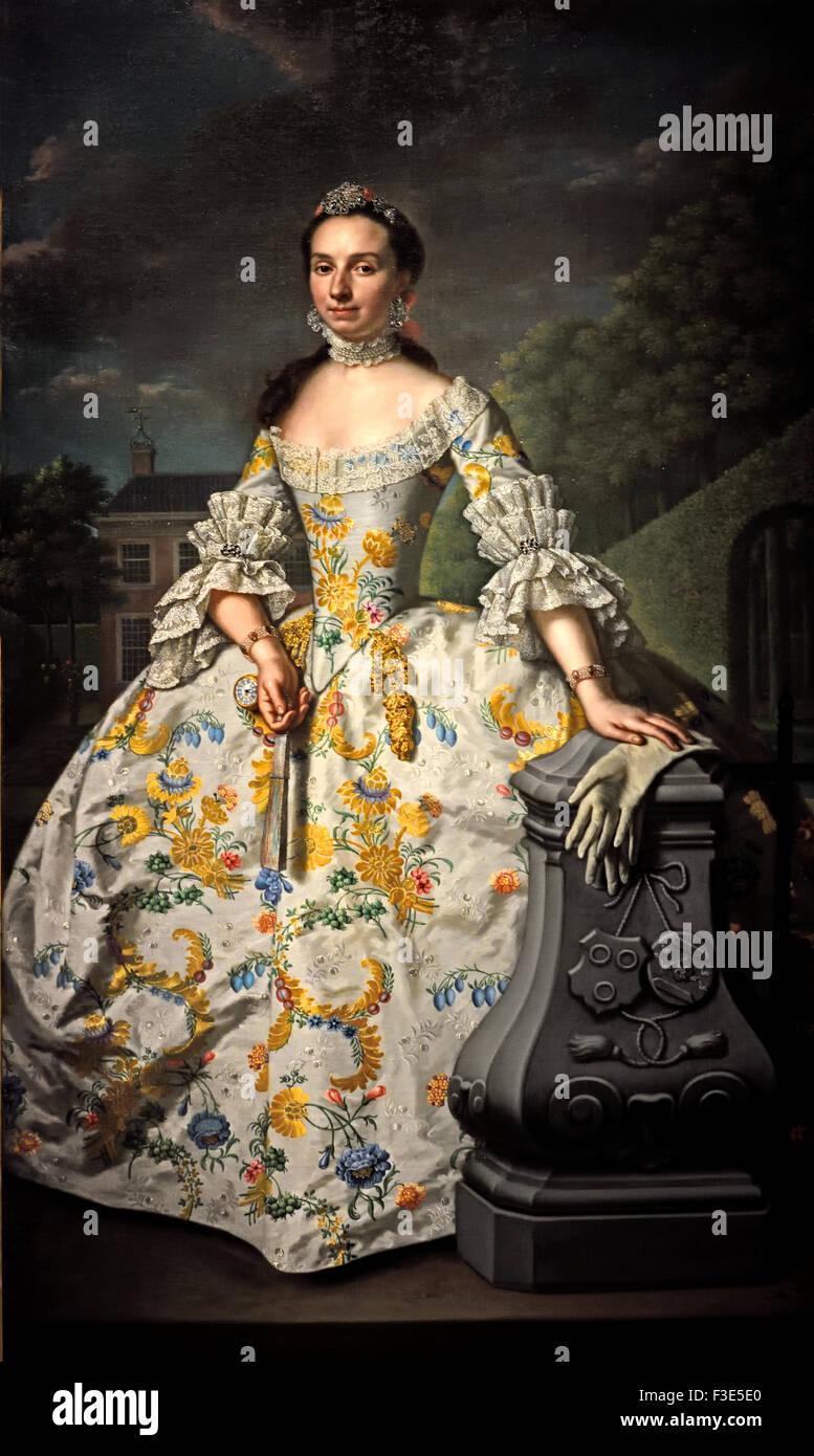 Portrait of Charlotte Beatrix Strick van Linschoten 1755 Mattheus Verheyden  1700 - 1777 Dutch Netherlands -