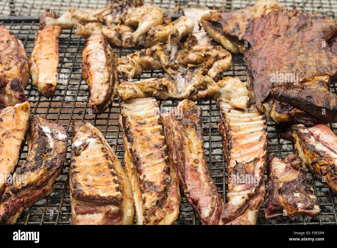 Barbecue of beef steak traditional Argentine style - Stock Image