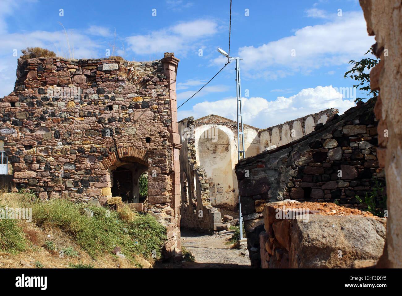 Cunda island church ruins, Balikesir, Turkey - Stock Image