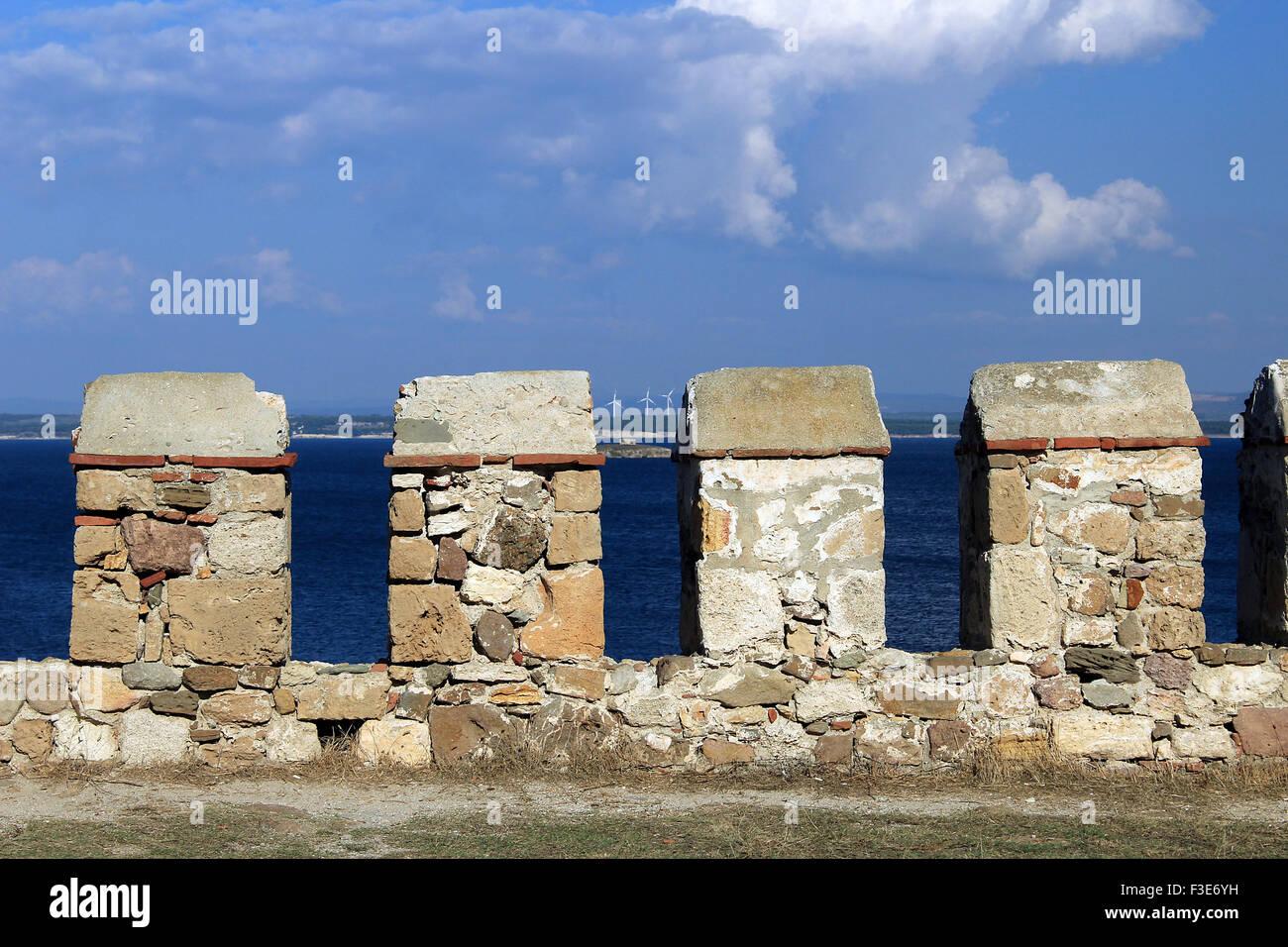 Walls of Bozcaada Castle Tenedos Castle - Stock Image