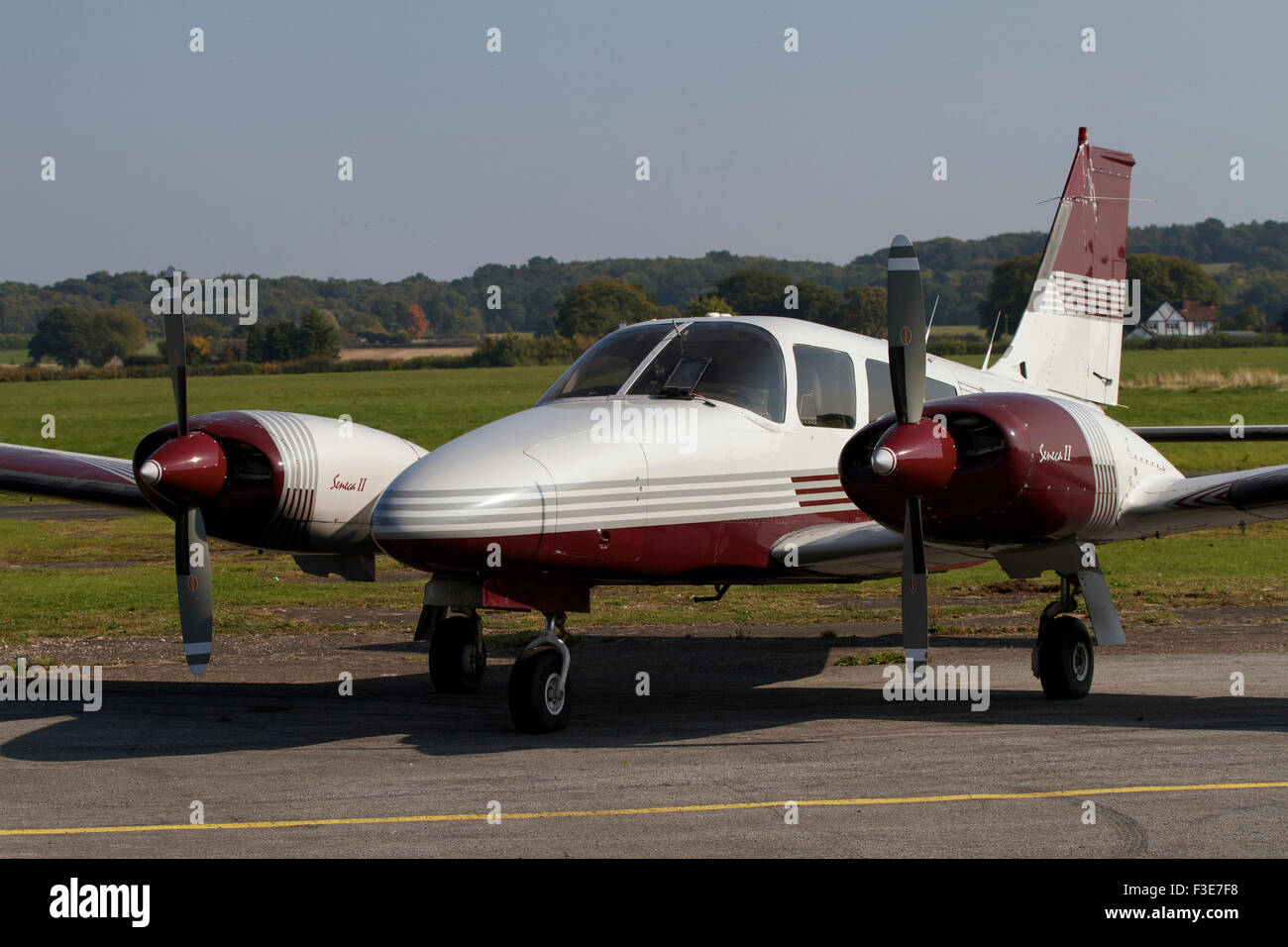 Twin engined aircraft parked at Wolverhampton Airport. UK - Stock Image
