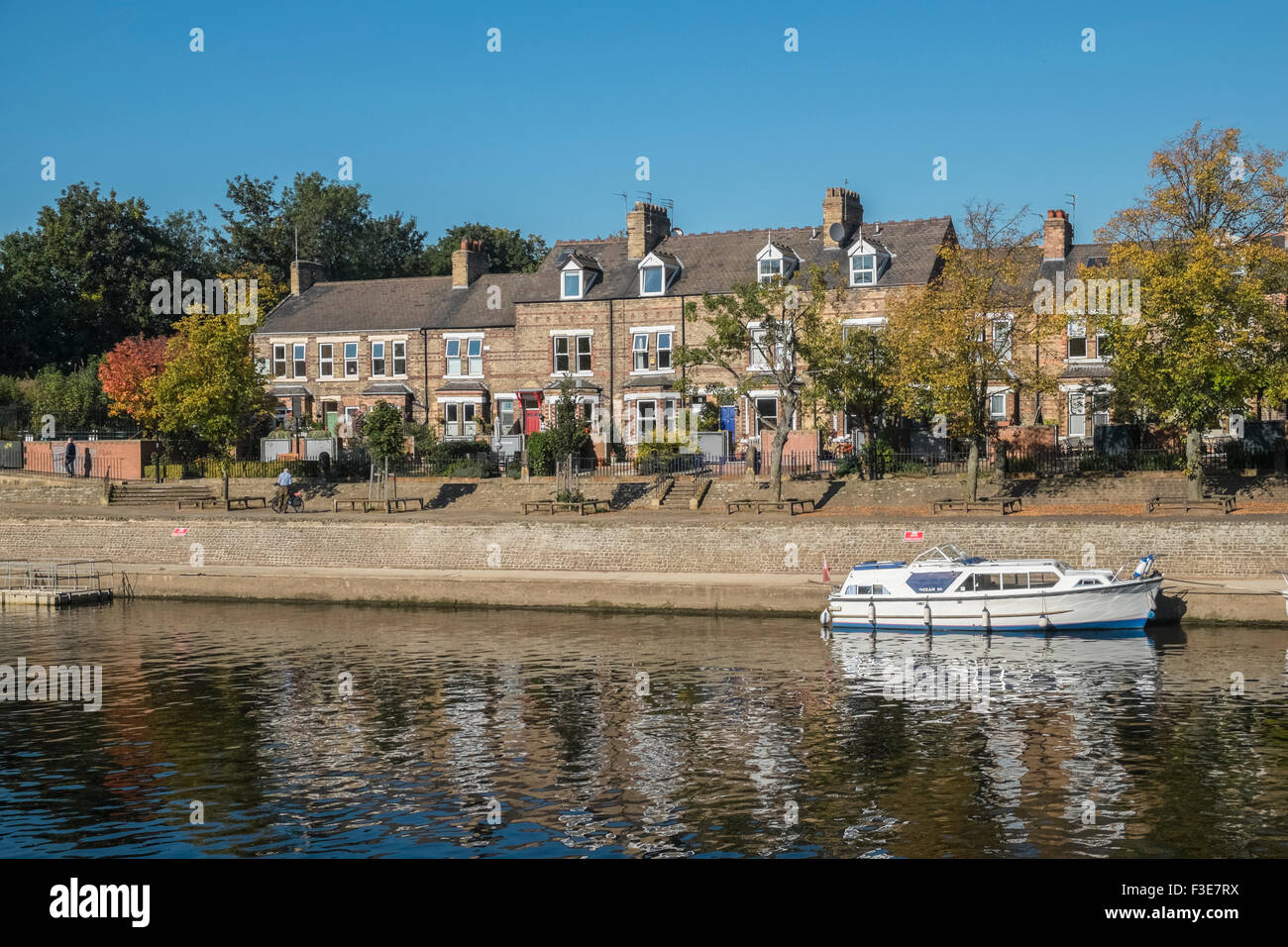 Terrace houses fronting the River Ouse, York, North Yorkshire, England UK - Stock Image