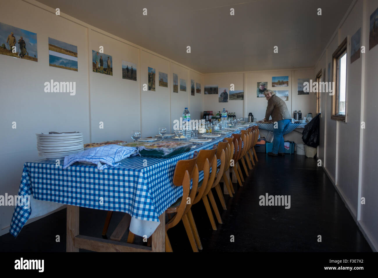 Inside the grouse shooters' hut on Burley Moor in Yorkshire, preparing for the post shoot feast - Stock Image